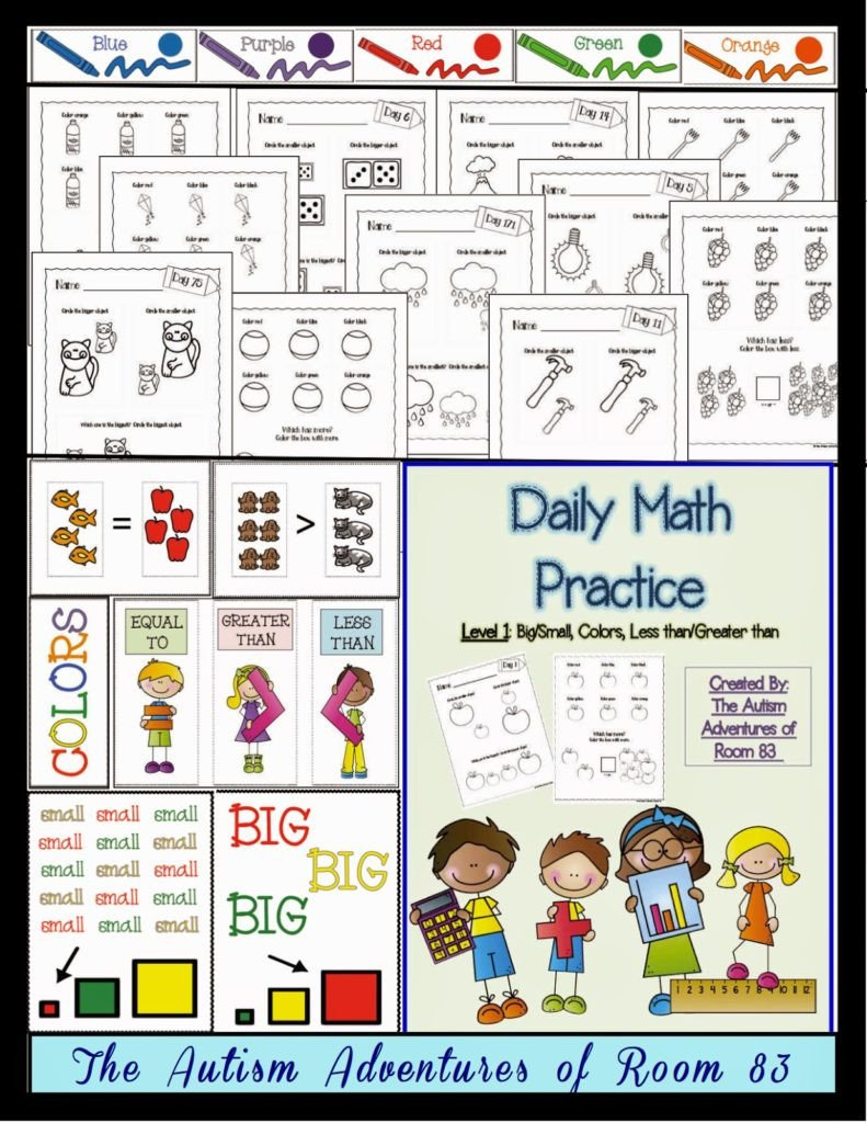 Autism Life Skills Worksheets Daily Math Practice Level 1 Big Small More Less Colors
