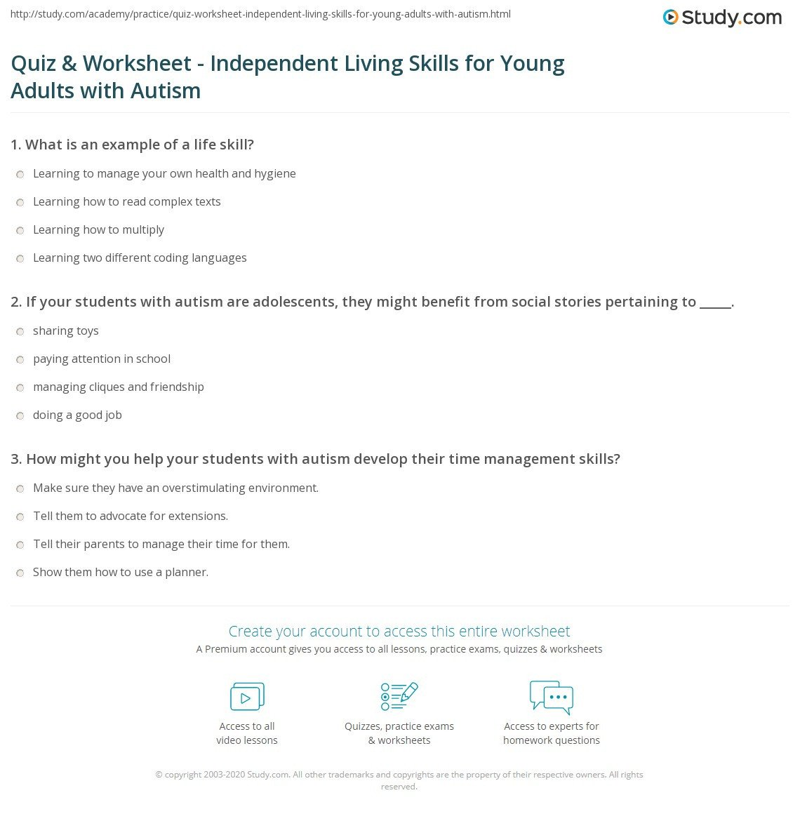 Autism Life Skills Worksheets Quiz Worksheet Independent Living Skills for Adults with