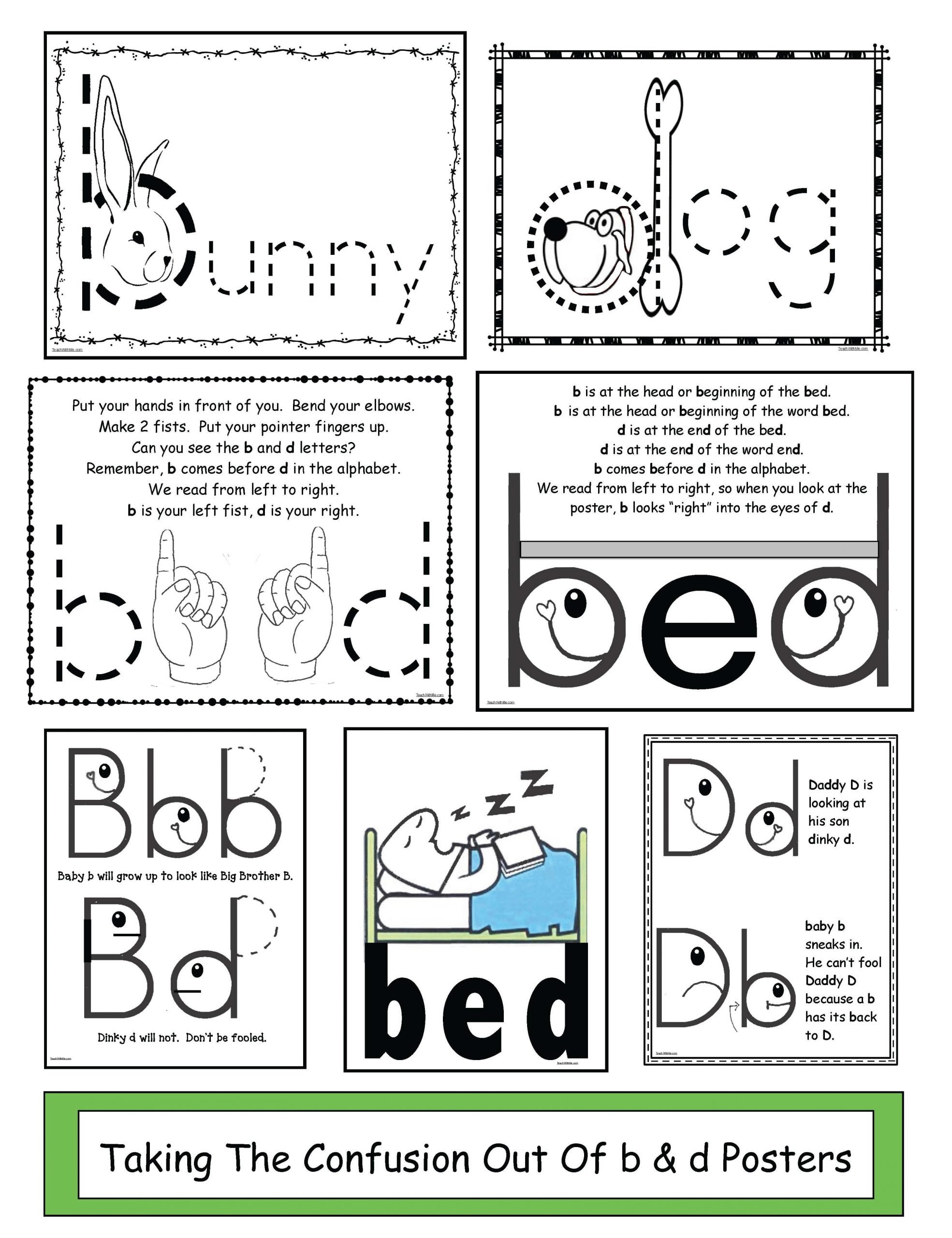 B and D Reversals Worksheets Taking the Confusion Out B & D