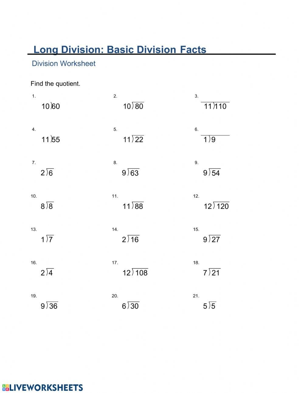 Beginner Division Worksheets with Pictures Ma2 Monday Division Basic Facts Interactive Worksheets