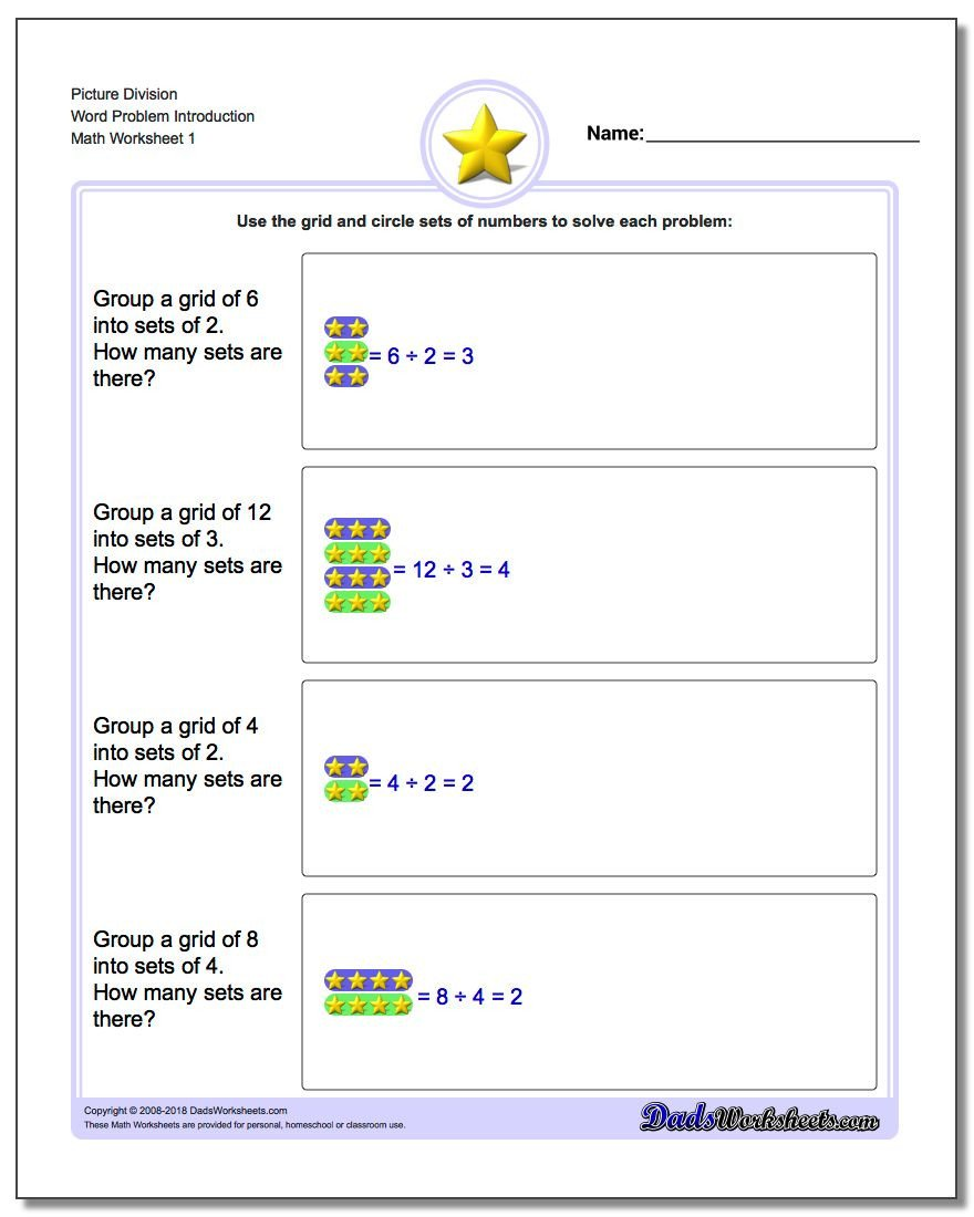 Beginner Division Worksheets with Pictures Picture Math Division