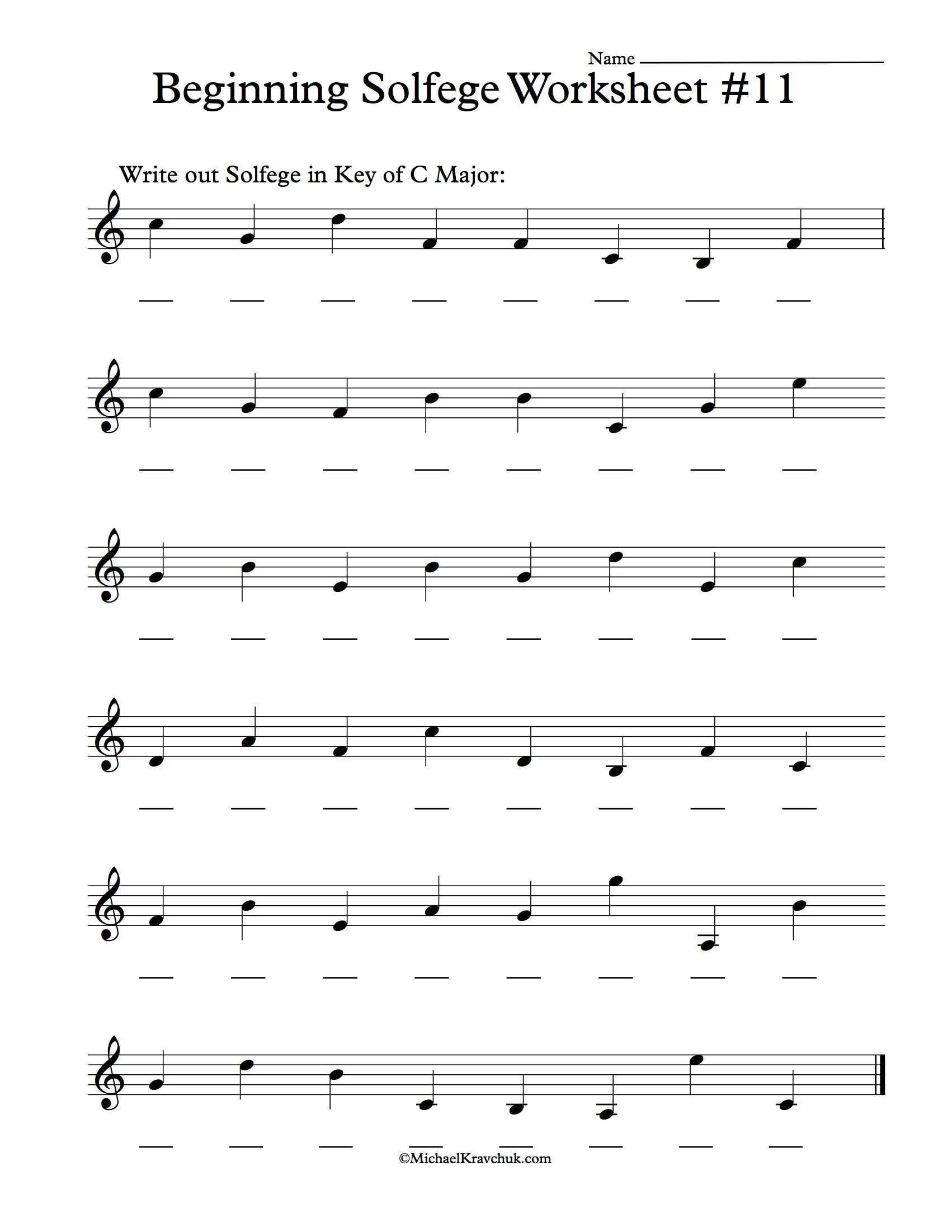 Beginner Piano Lesson Worksheets Beginning solfege Worksheet 11 for Classroom Instructions