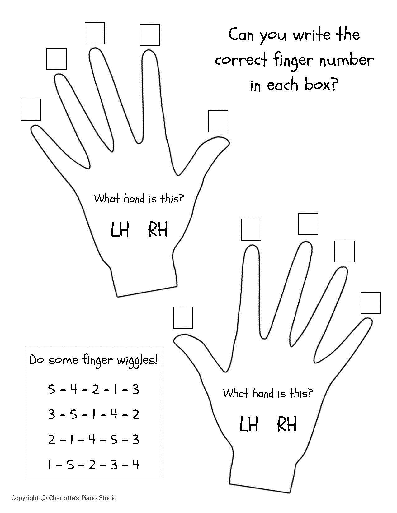 Beginner Piano Lesson Worksheets Hands & Fingers Charlottes Piano Studio Lessons In West