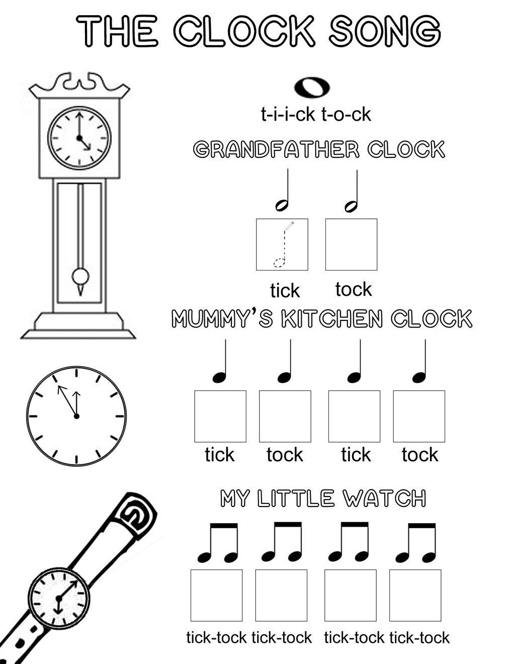 Beginner Piano Lesson Worksheets the Clock song An Easy Way to Learn Musical Note Values