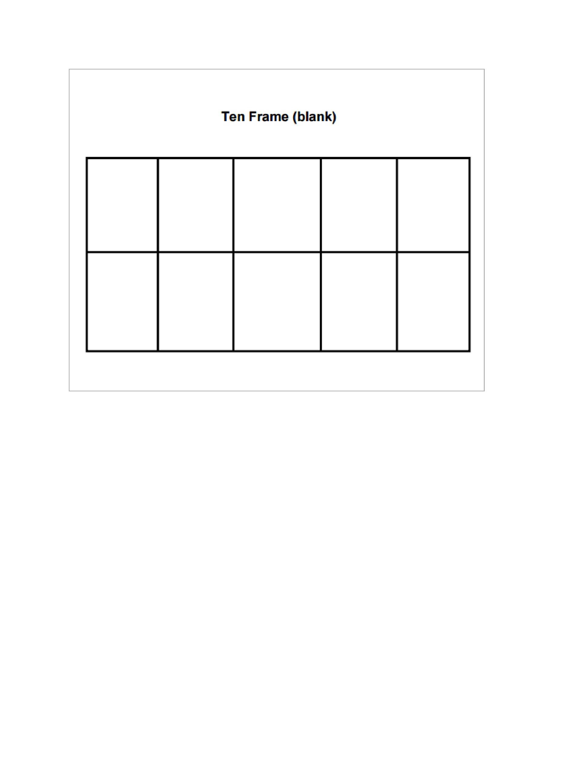 Blank Ten Frame Worksheets 36 Printable Ten Frame Templates Free Templatelab