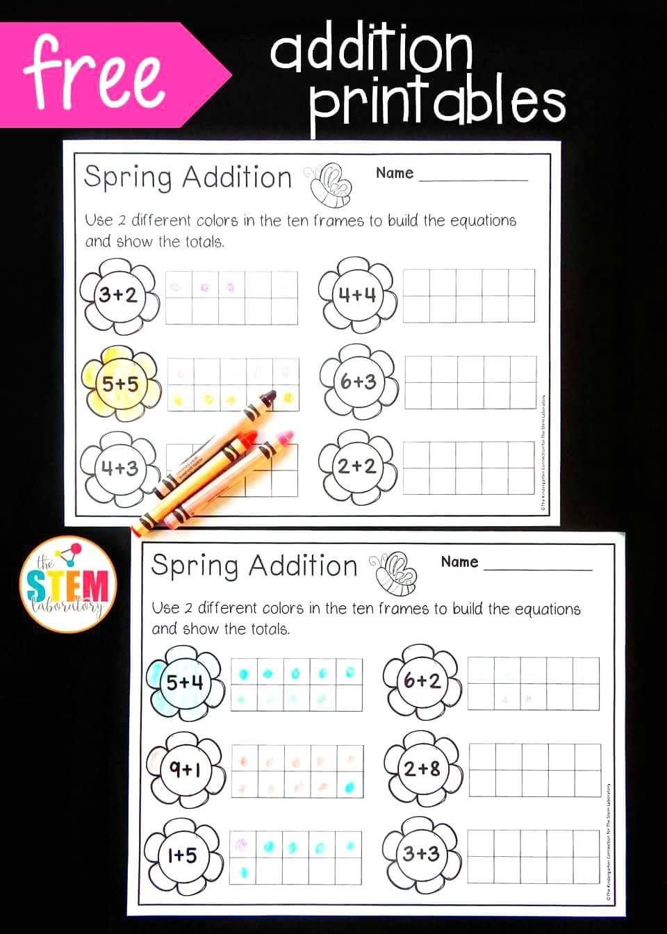 Blank Ten Frame Worksheets Spring Ten Frame Addition the Stem Laboratory