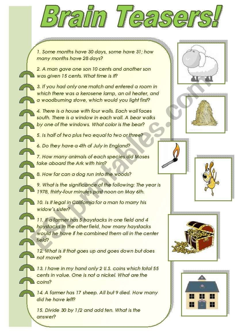 Brain Teaser Worksheets Pdf Brain Teasers A Collection Of Funny Brain Teasers with