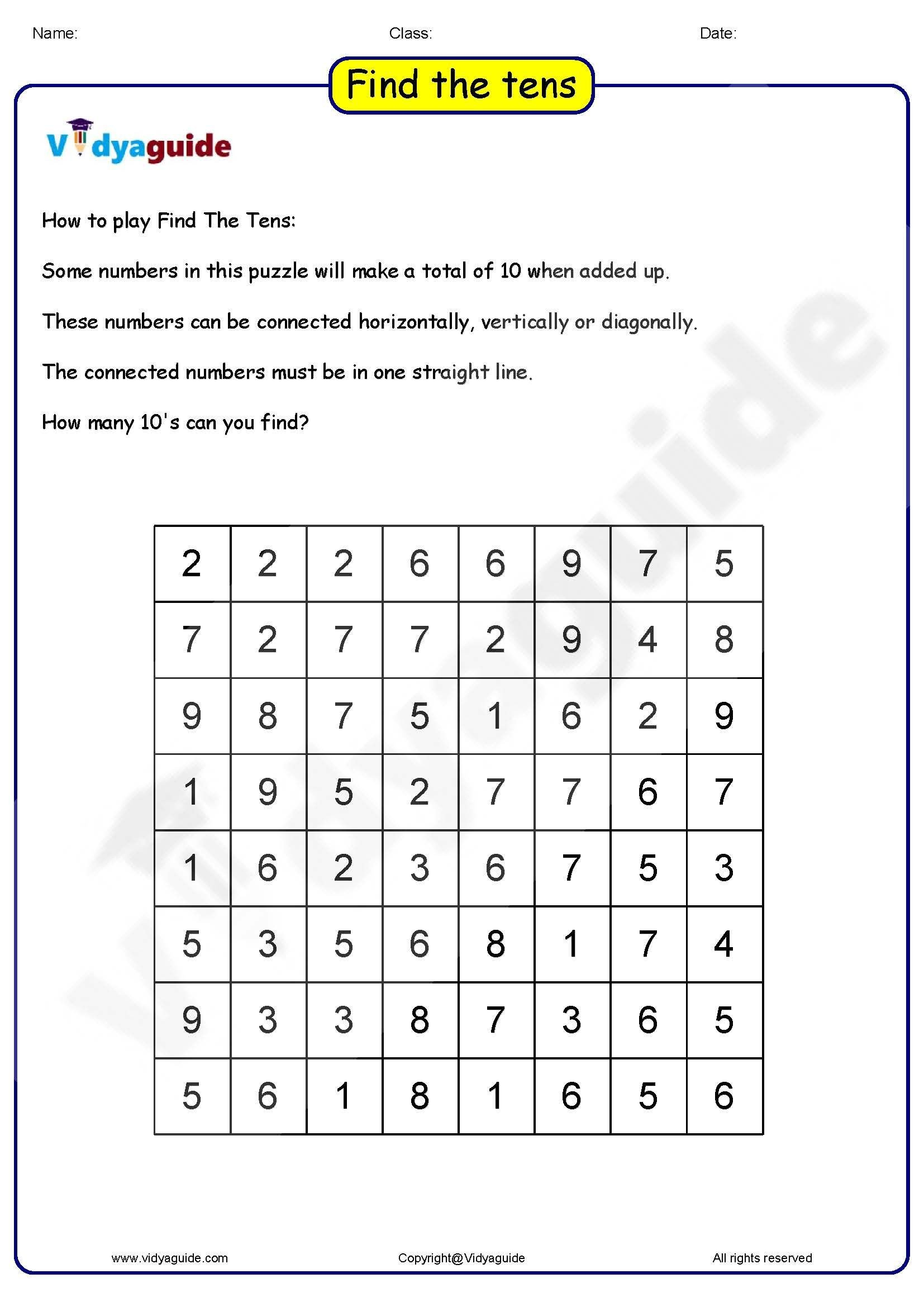 Brain Teaser Worksheets Pdf Maths Games for Kids Find the Tens 01