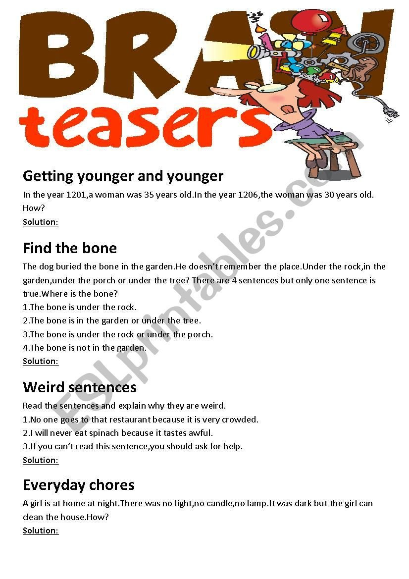 Brain Teasers for Kids Worksheet Brain Teasers with Answer Key Esl Worksheet by Cukurova