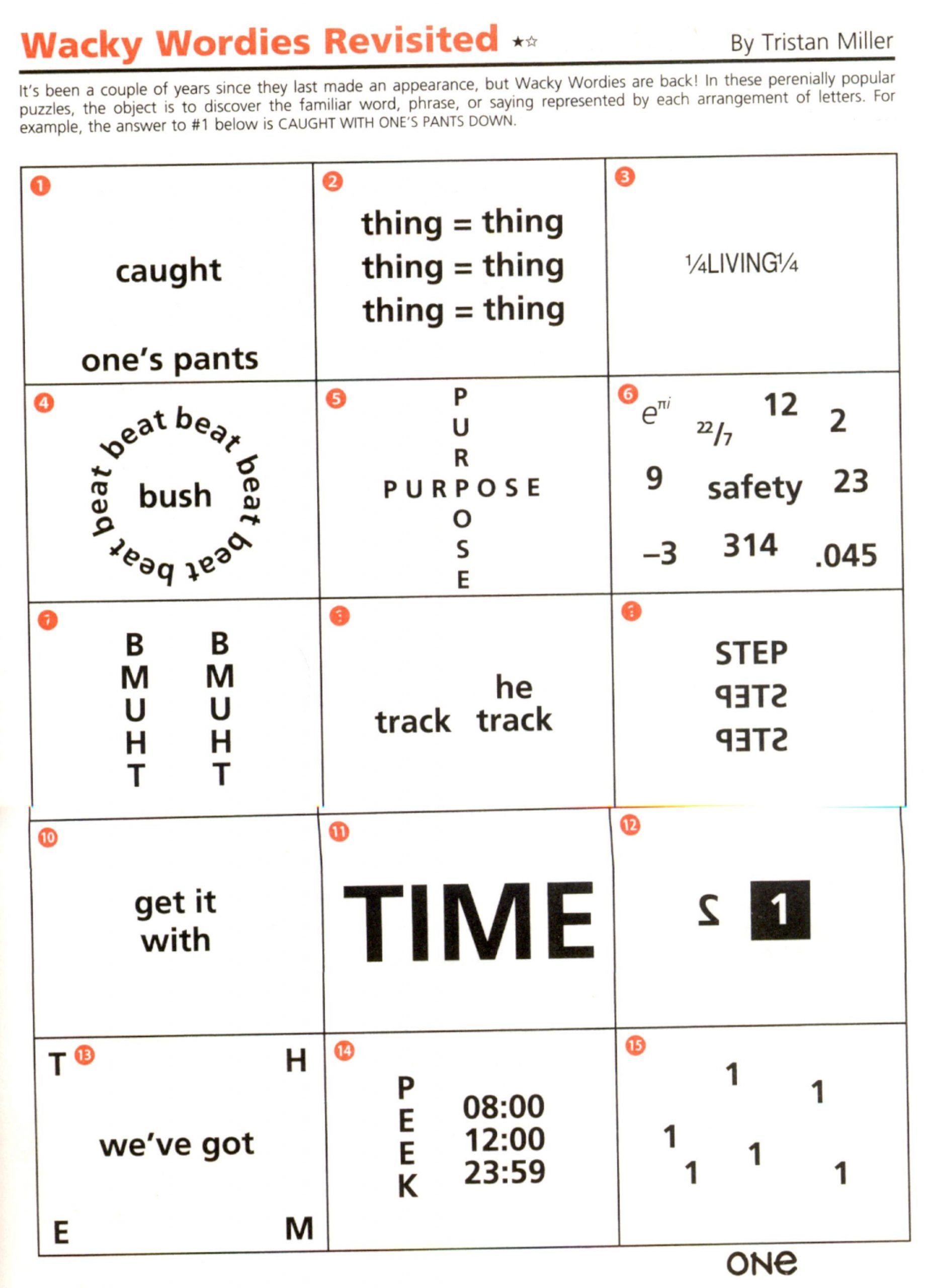 Brain Teasers for Kids Worksheet Wackie Wor S 92