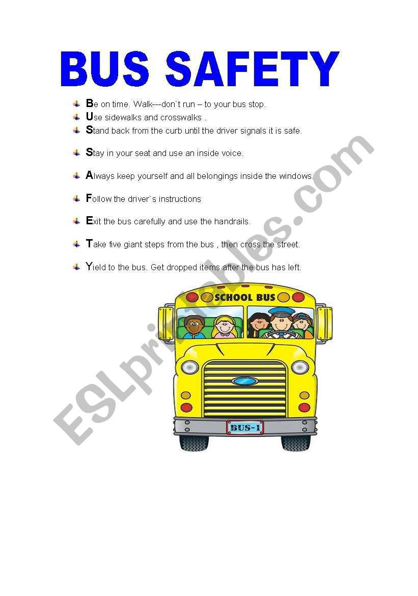 BUS SAFETY ESL worksheet by isabelri