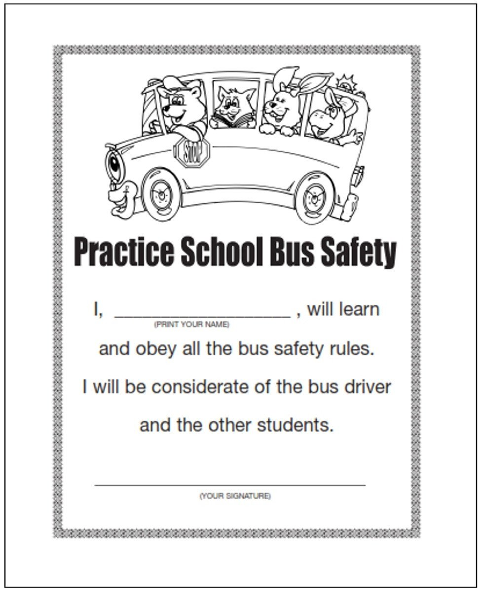 Bus Safety Worksheets Practice School Bus Safety