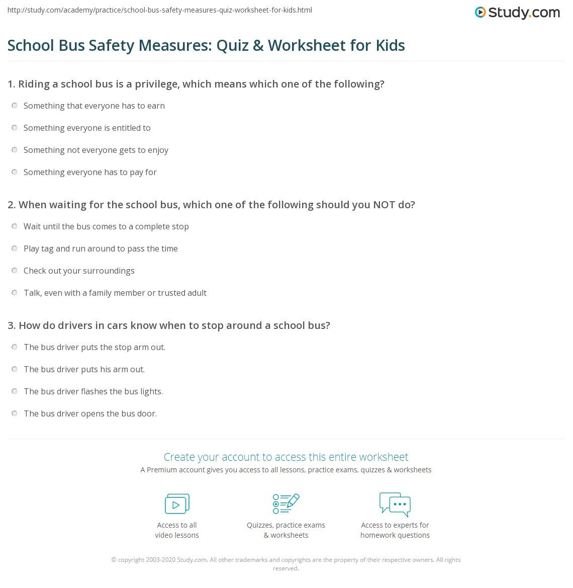 school bus safety measures quiz worksheet for kids