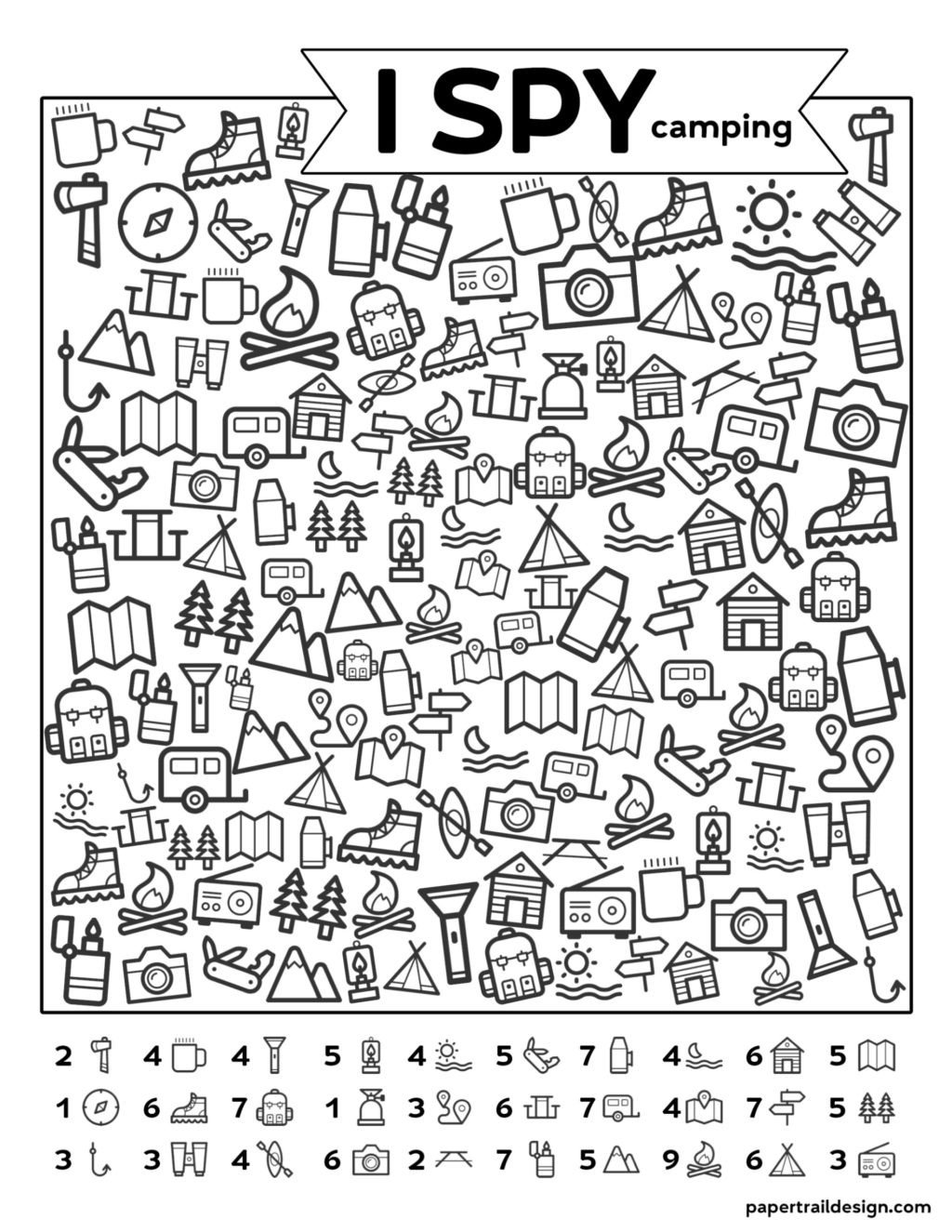 worksheet Freetable I Spy Camping Kids Activity Paper