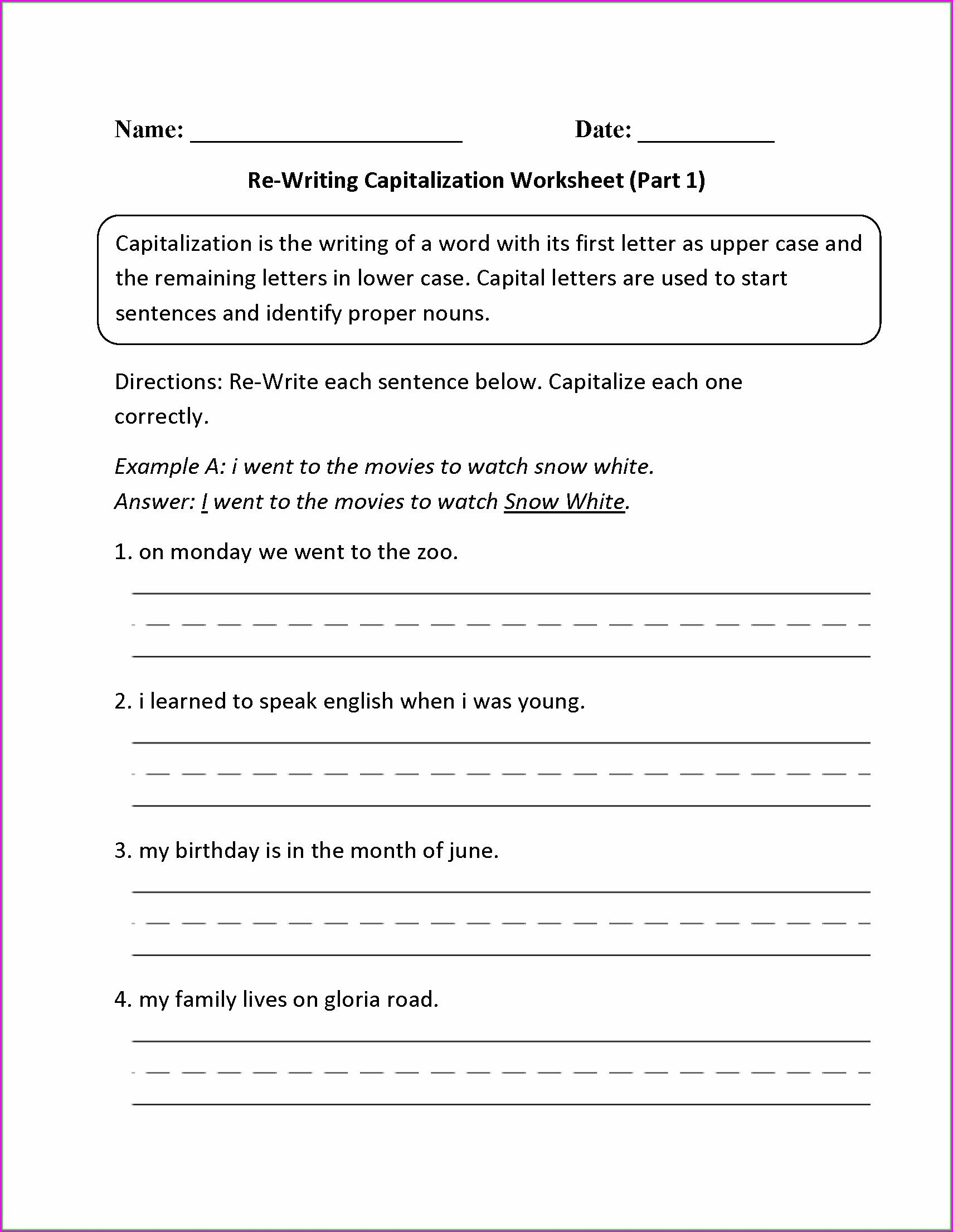 Capitalization Worksheets Grade 1 Capitalization Worksheets 7th Grade
