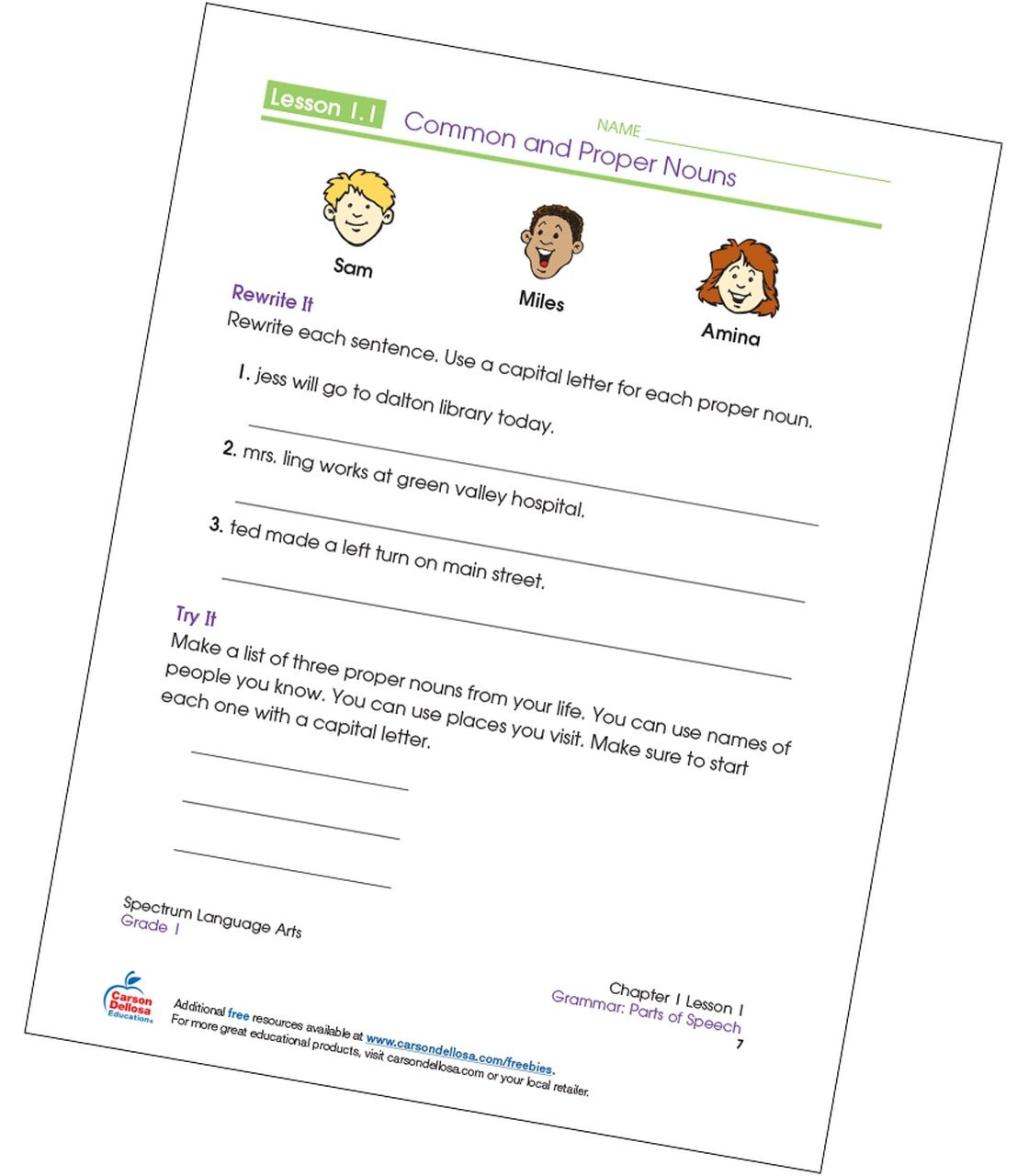 Capitalization Worksheets Grade 1 Writing Mon and Proper Nouns Grade 1 Free Printable