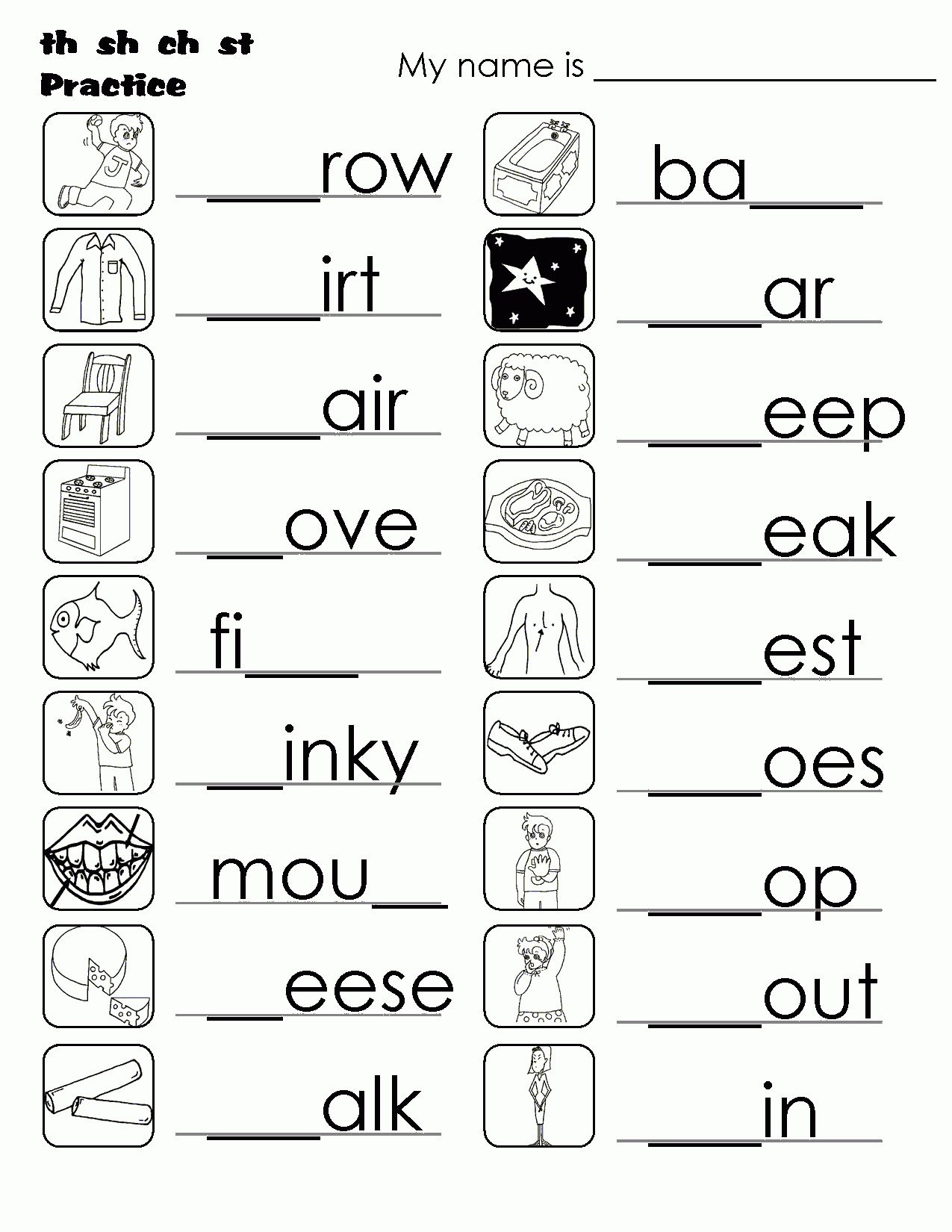 Ch Worksheets for Kindergarten Digraph Worksheets Sh Ch