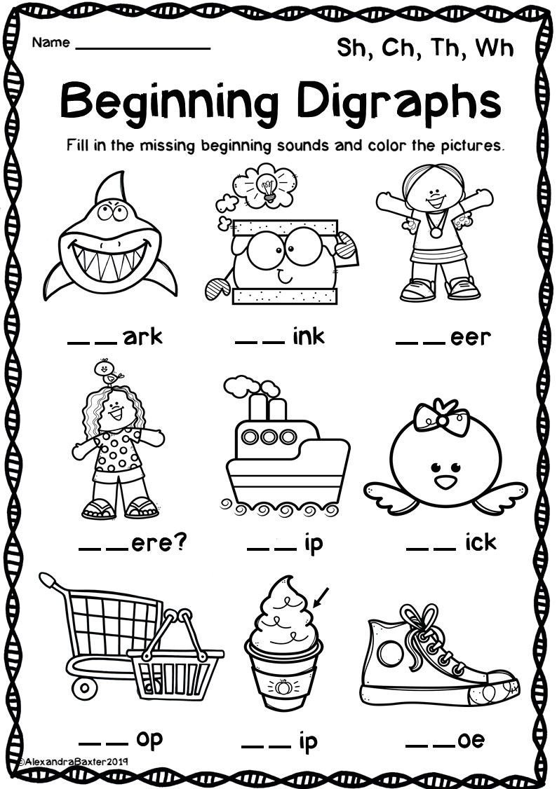 Ch Worksheets for Kindergarten Digraph Worksheets Sh Ch Th Wh