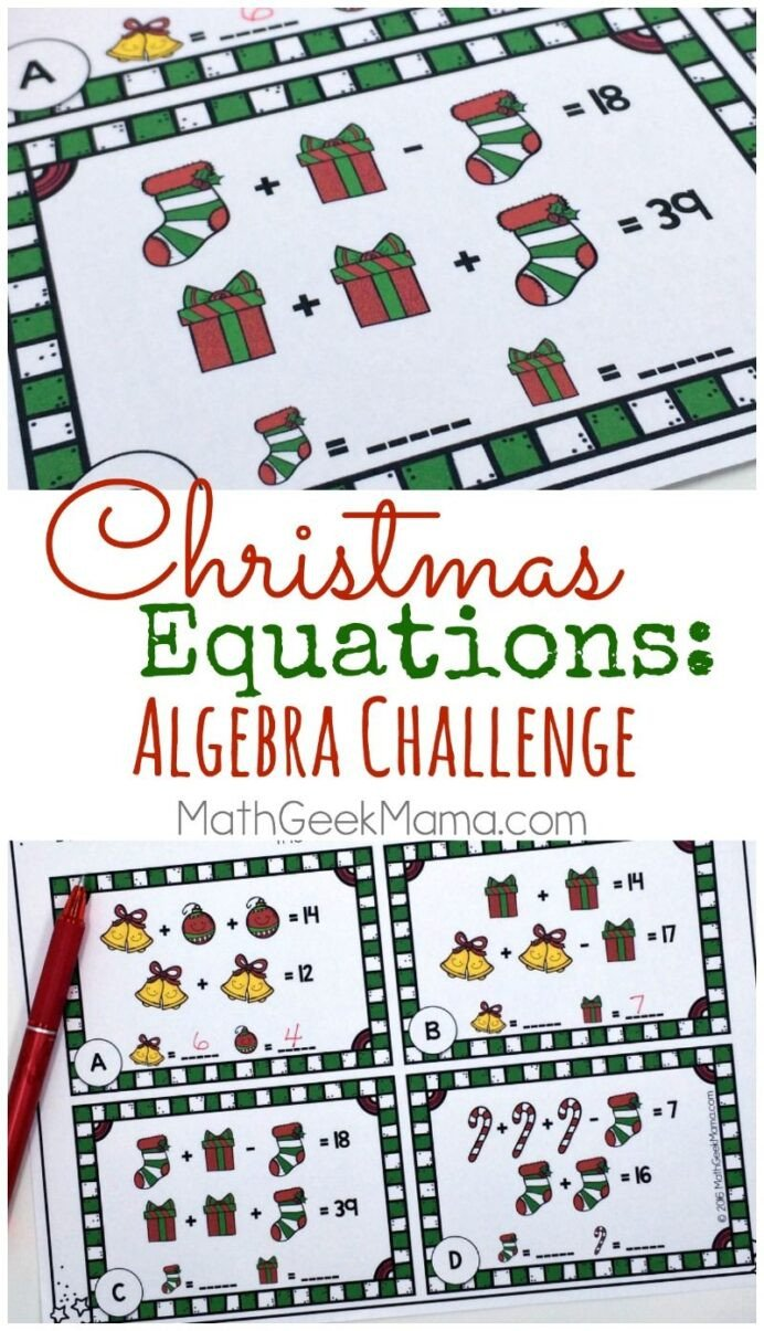 Challenge Math Worksheets Christmas Equations Worksheet Unique Math Challenge Free