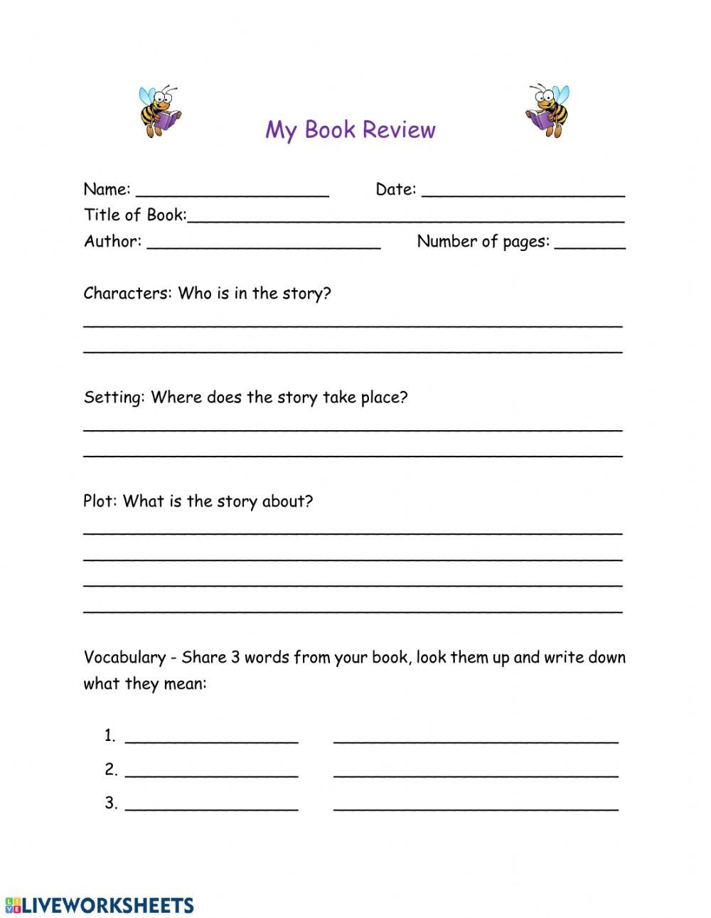 Character Setting Plot Worksheet Book Review Interactive Worksheet