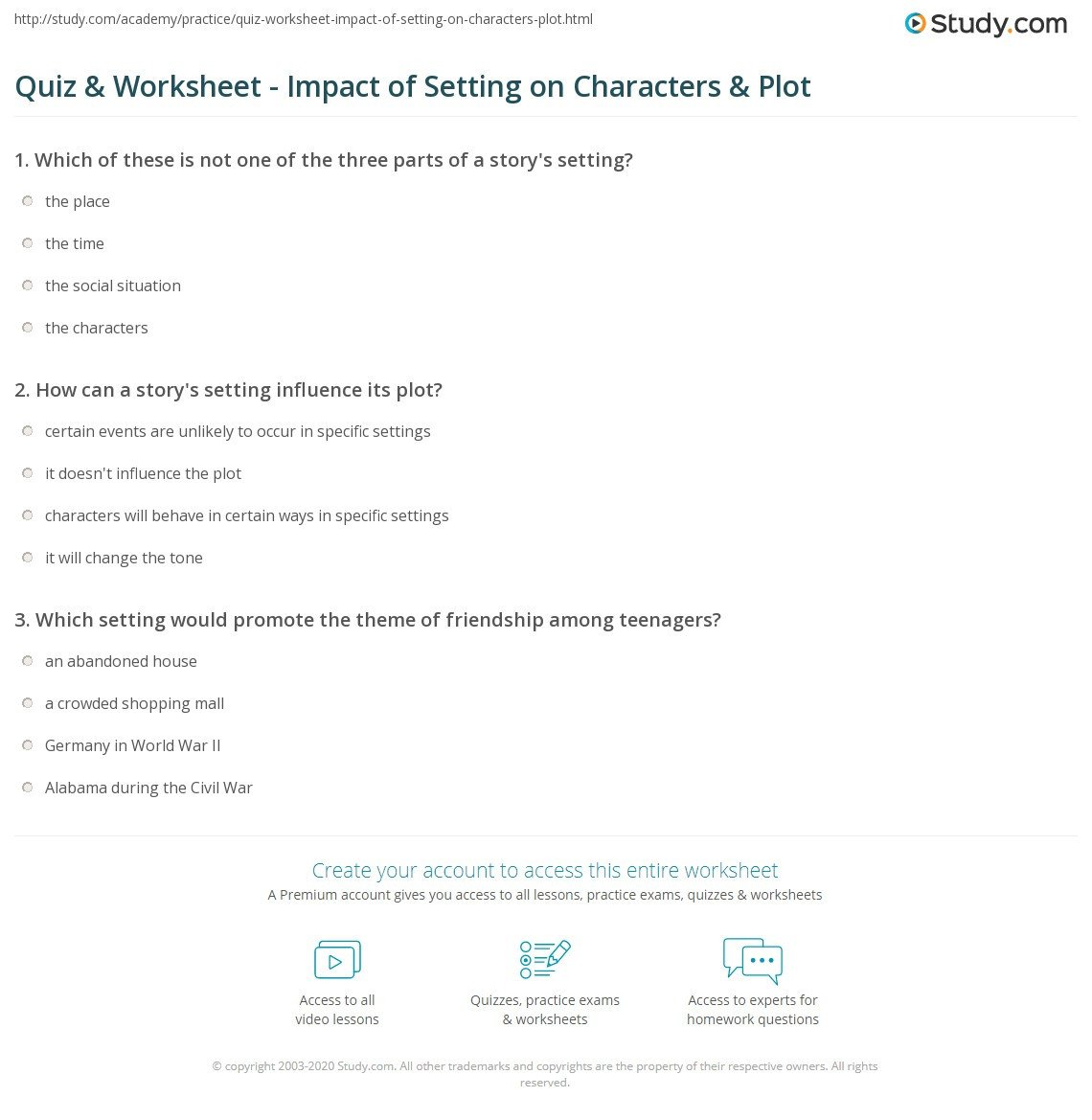 Character Setting Plot Worksheet Quiz & Worksheet Impact Of Setting On Characters & Plot
