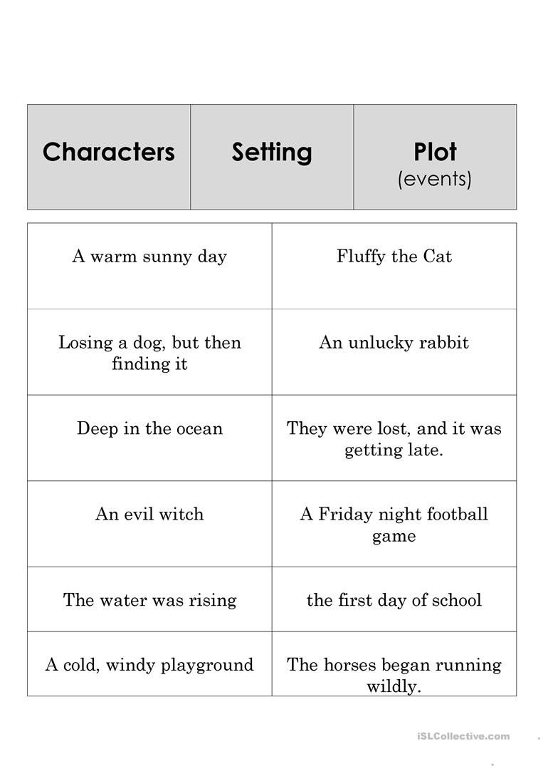 Character Setting Plot Worksheet Story Element Set English Esl Worksheets for Distance