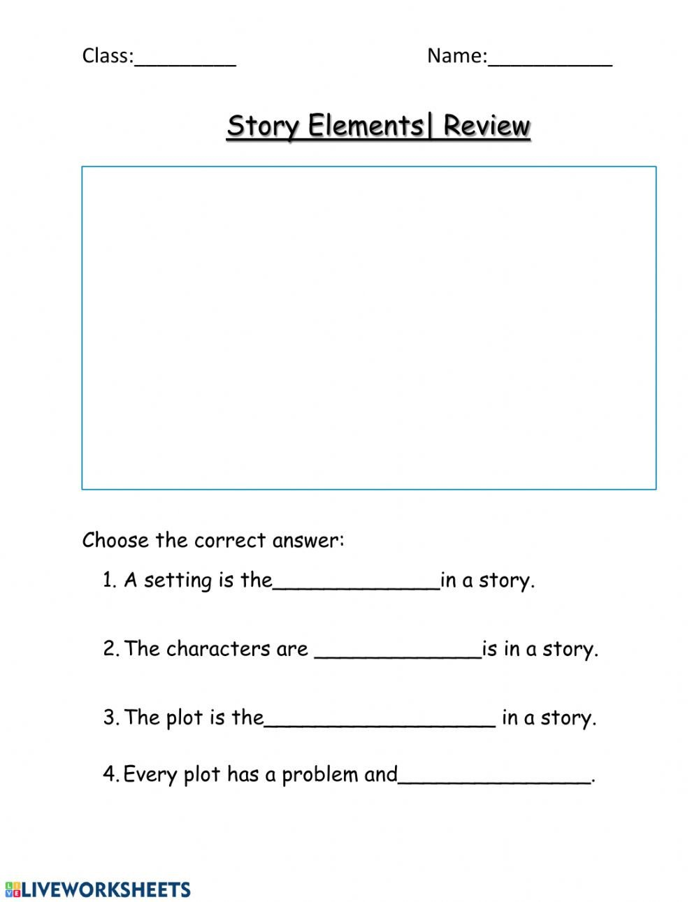 Character Setting Plot Worksheet Story Elements Review Interactive Worksheet