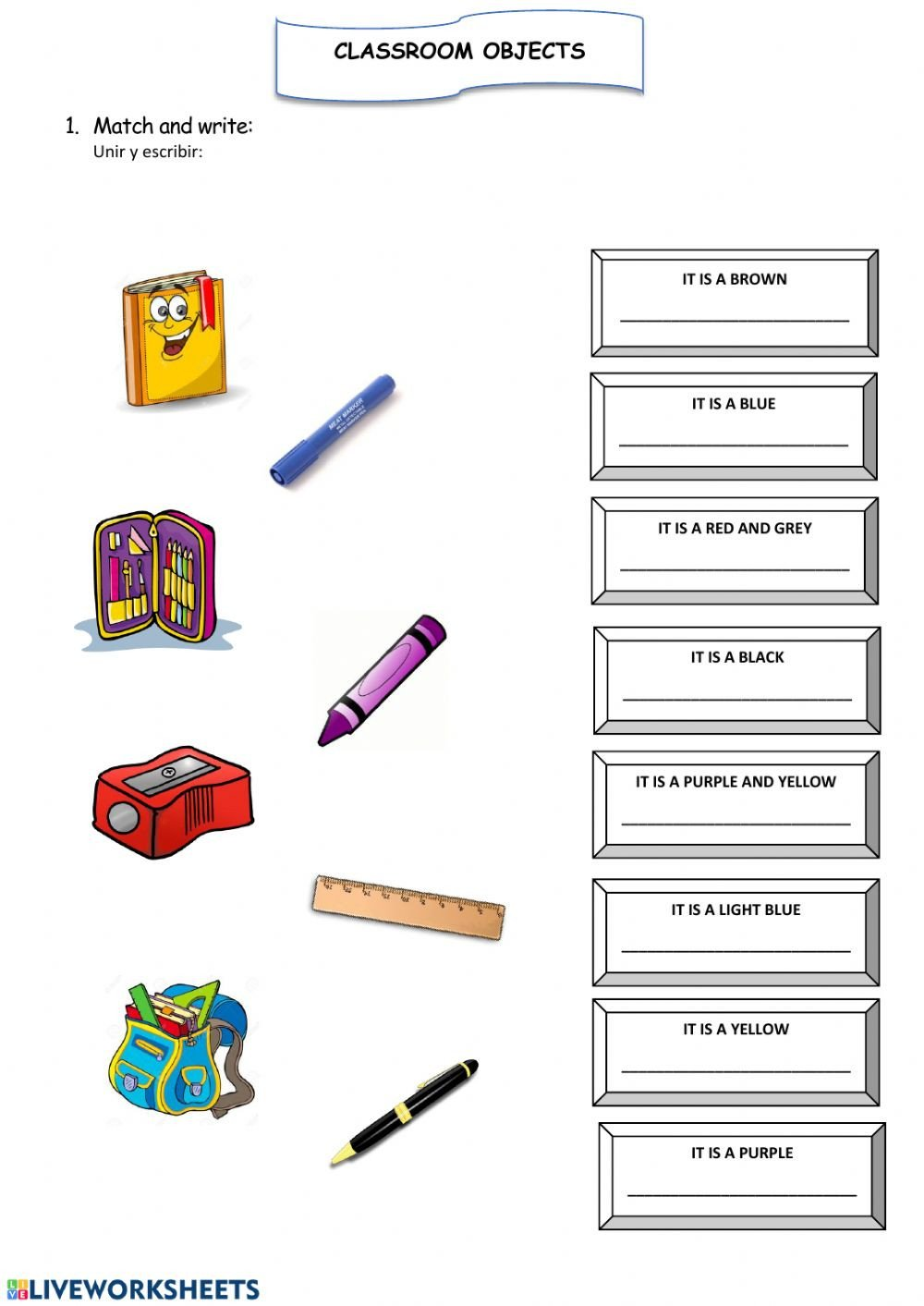 Classroom Objects Worksheets Pdf Classroom Objects 1 Exercise Pdf