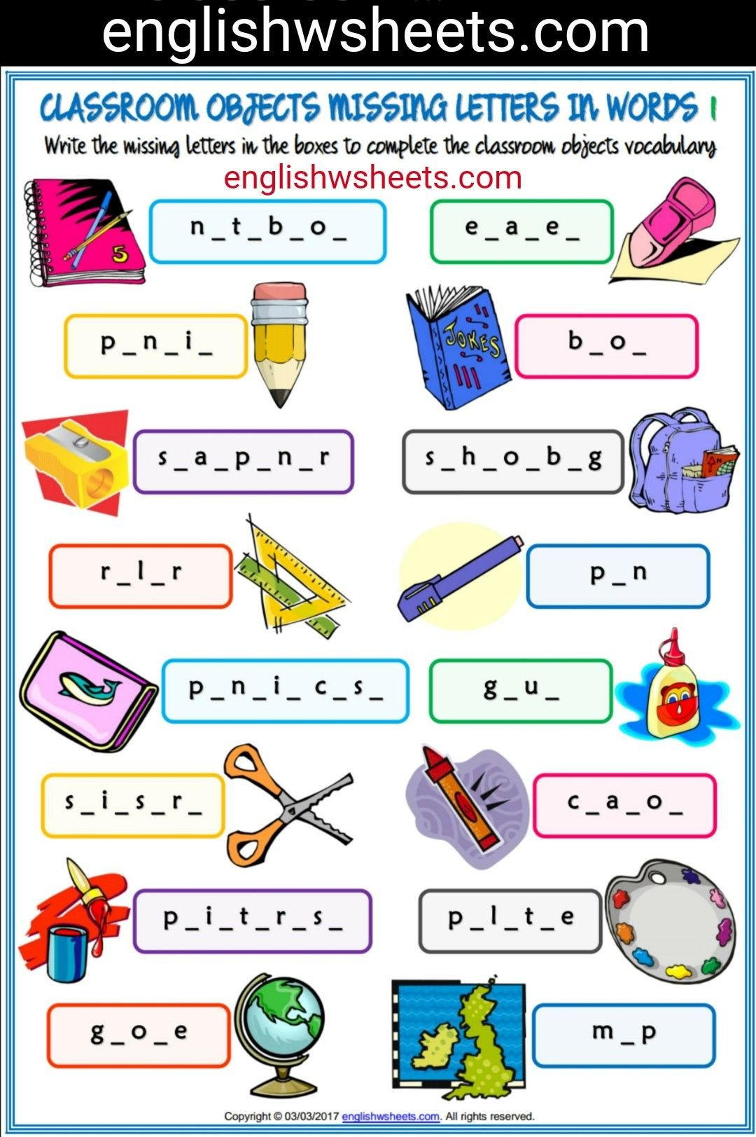Classroom Objects Worksheets Pdf Classroom Objects Esl Printable Missing Letters In Words