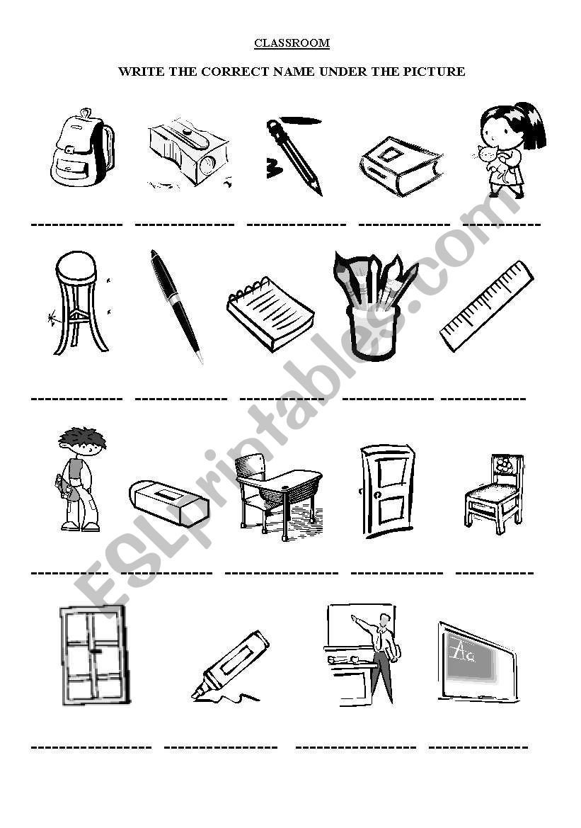 Classroom Objects Worksheets Pdf Classroom Objects Esl Worksheet by Erezirena