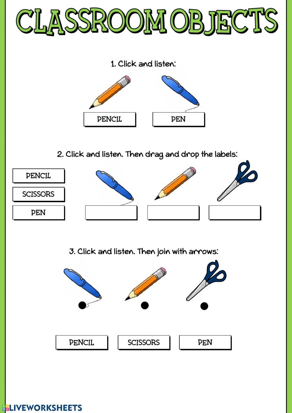Classroom Objects Worksheets Pdf Classroom Objects Online and Pdf Worksheet