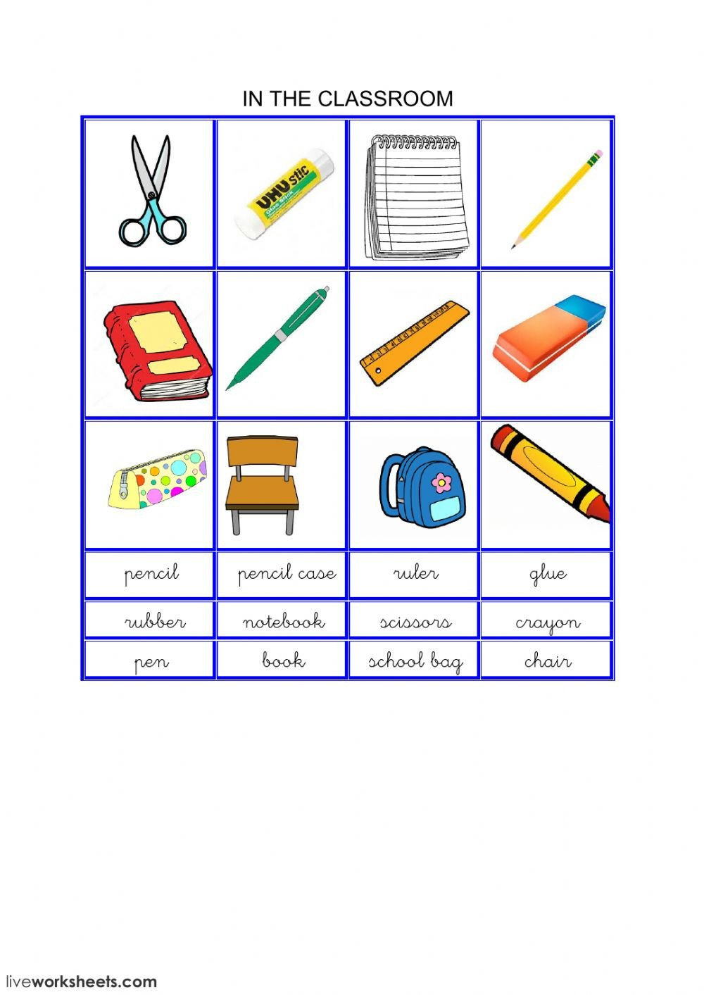 Classroom Objects Worksheets Pdf Classroom Objects Online Worksheet and Pdf