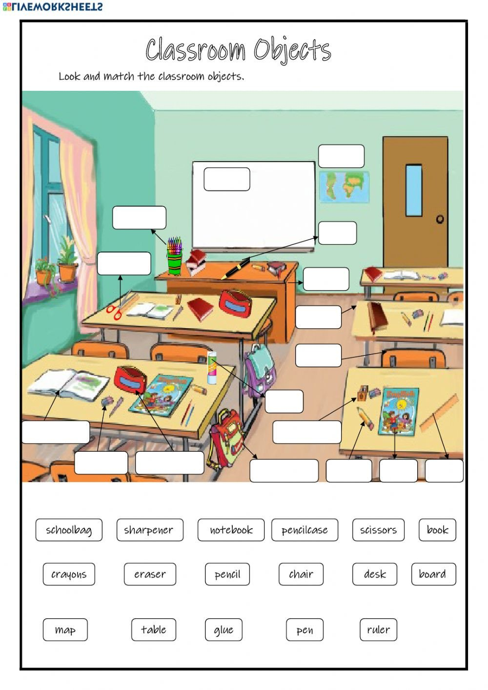 Classroom Objects Worksheets Pdf Classroom Objects Online Worksheet