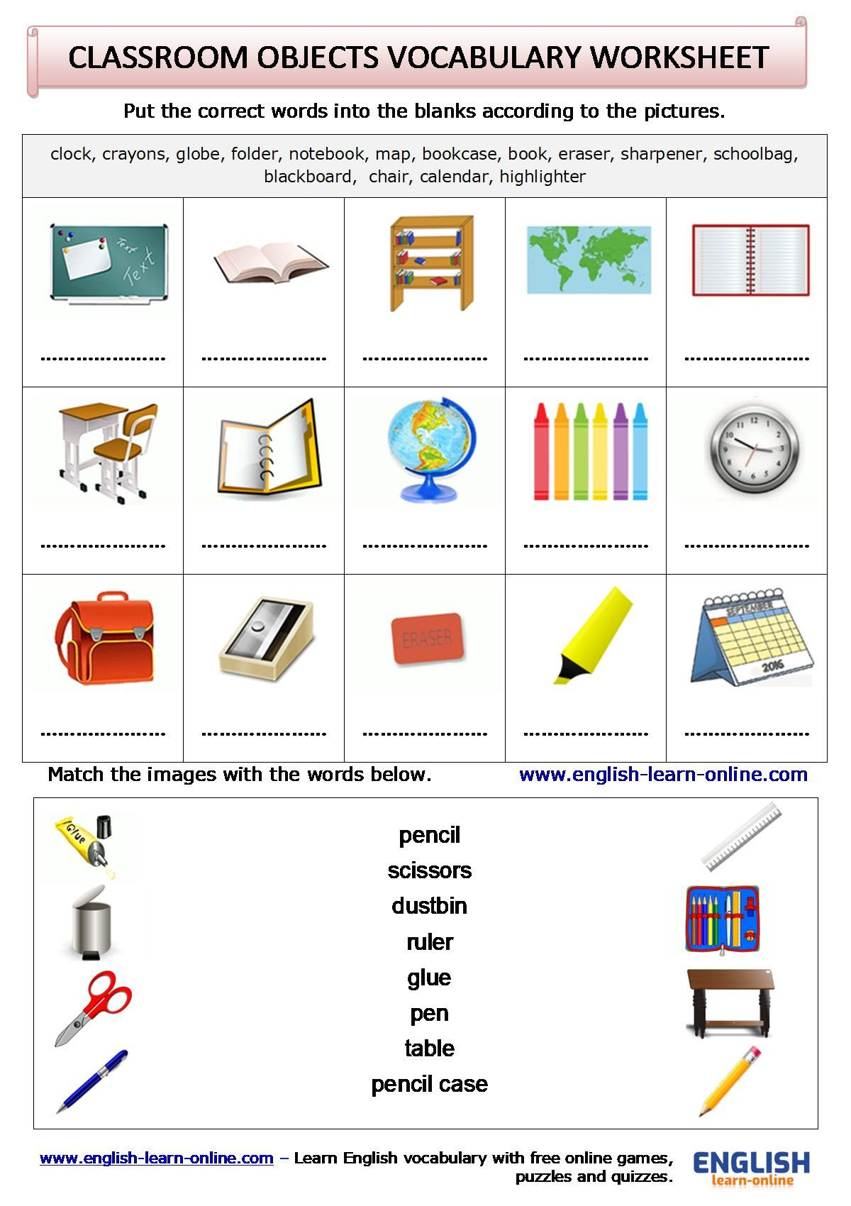 Classroom Objects Worksheets Pdf Classroom Objects Vocabulary In English with Games