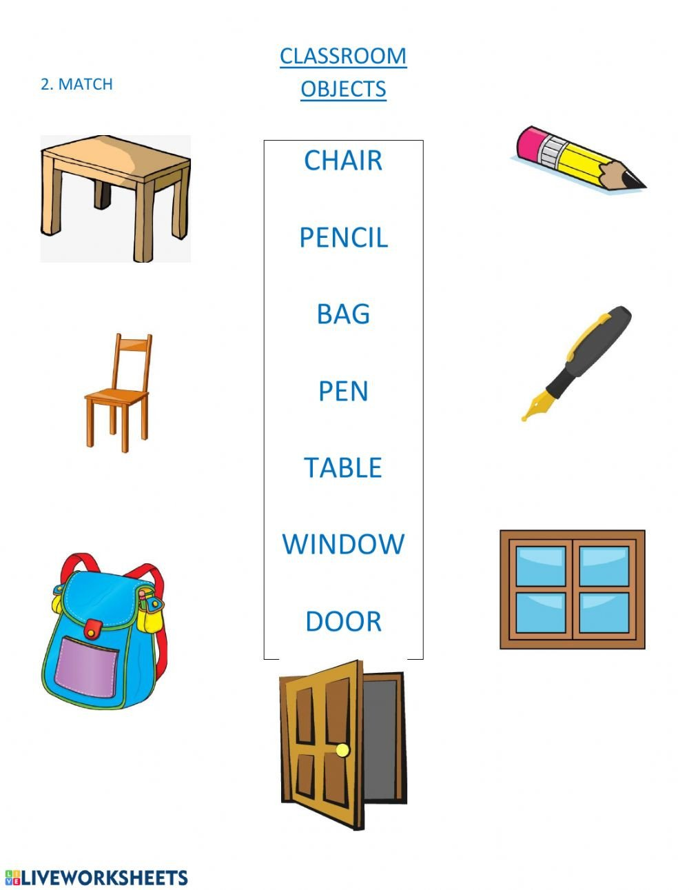 Classroom Objects Worksheets Pdf Classroom Objects Vocabulary Worksheet Pdf