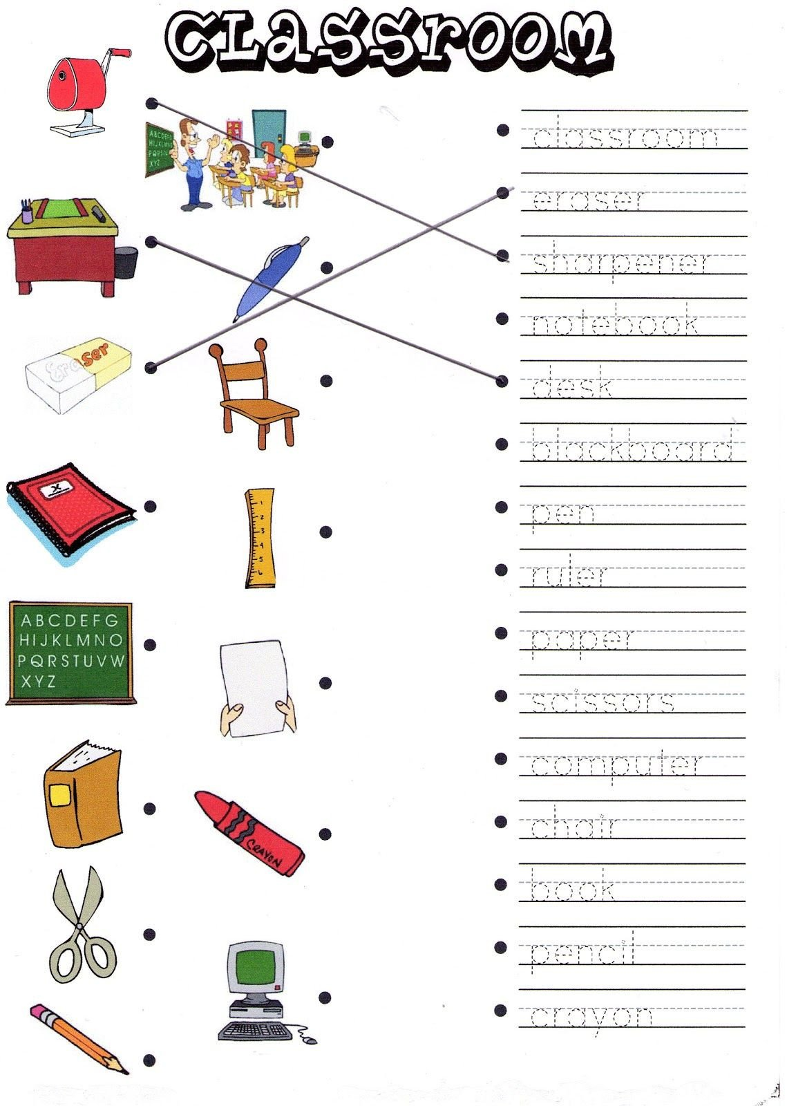 Classroom Objects Worksheets Pdf Classroom Objects Worksheets for Kindergarten Pdf