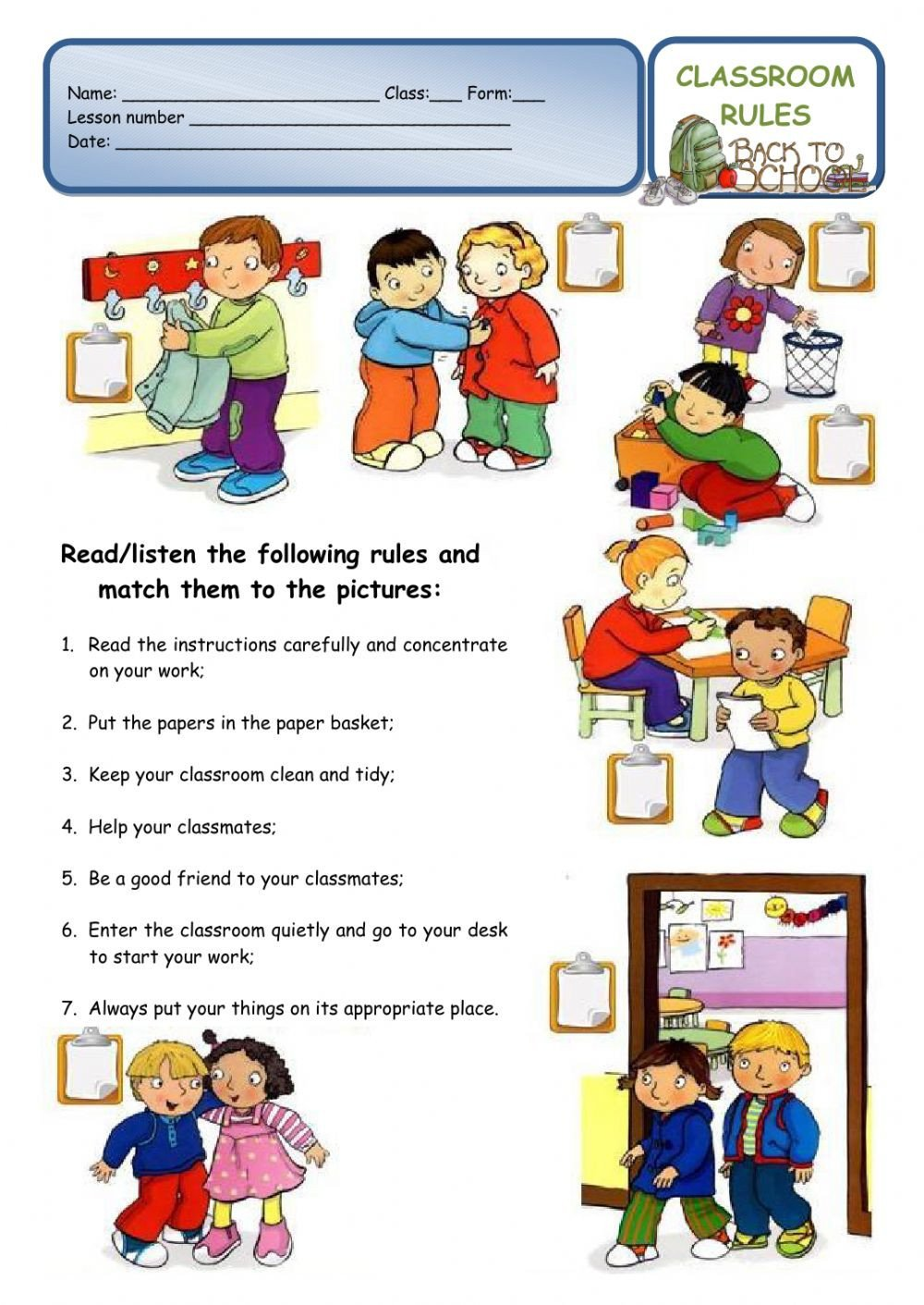 Classroom Rules Worksheet Classroom Rules A Back to School Worksheet Interactive