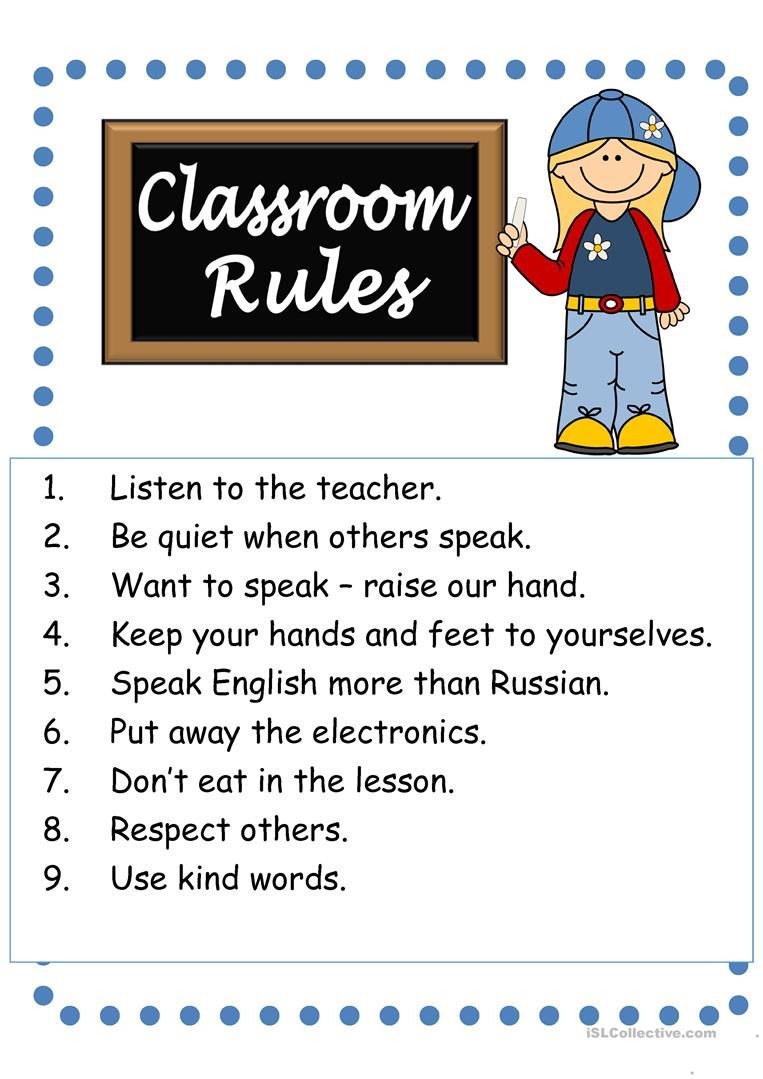 Classroom Rules Worksheet Classroom Rules English Esl Worksheets for Distance
