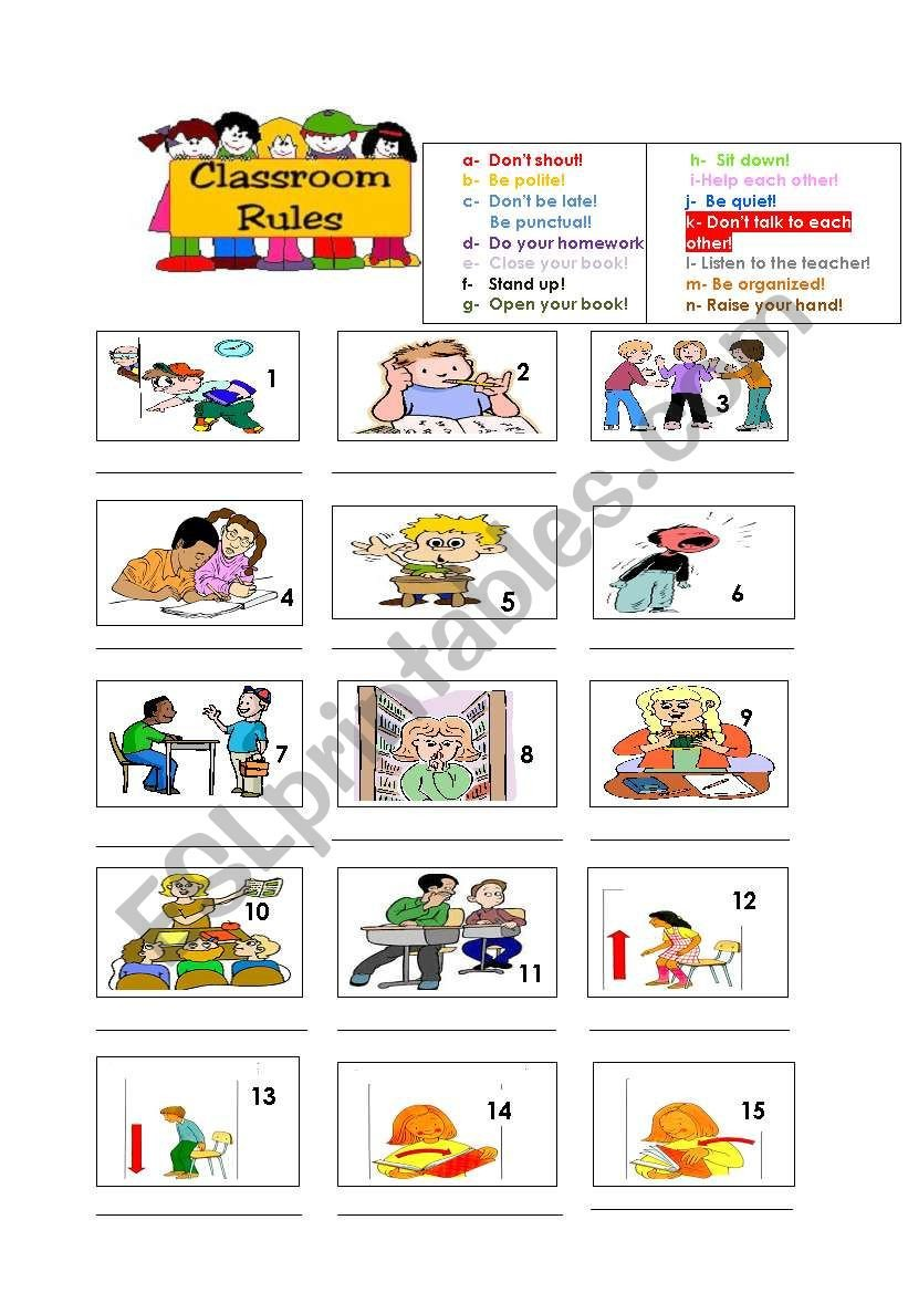 Classroom Rules Worksheet Classroom Rules Esl Worksheet by Afff