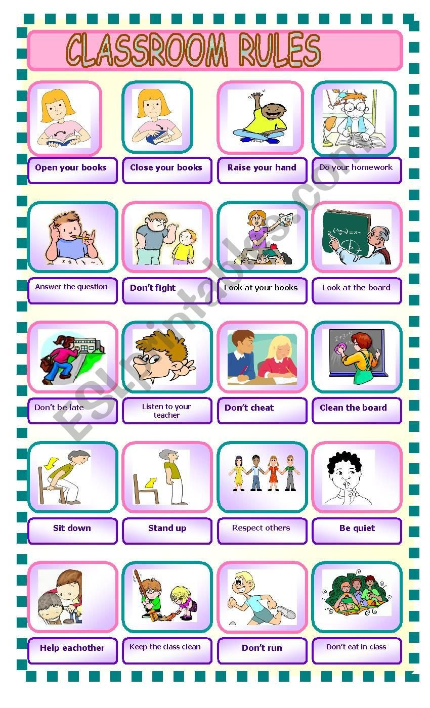Classroom Rules Worksheet Classroom Rules Esl Worksheet by Aycamind