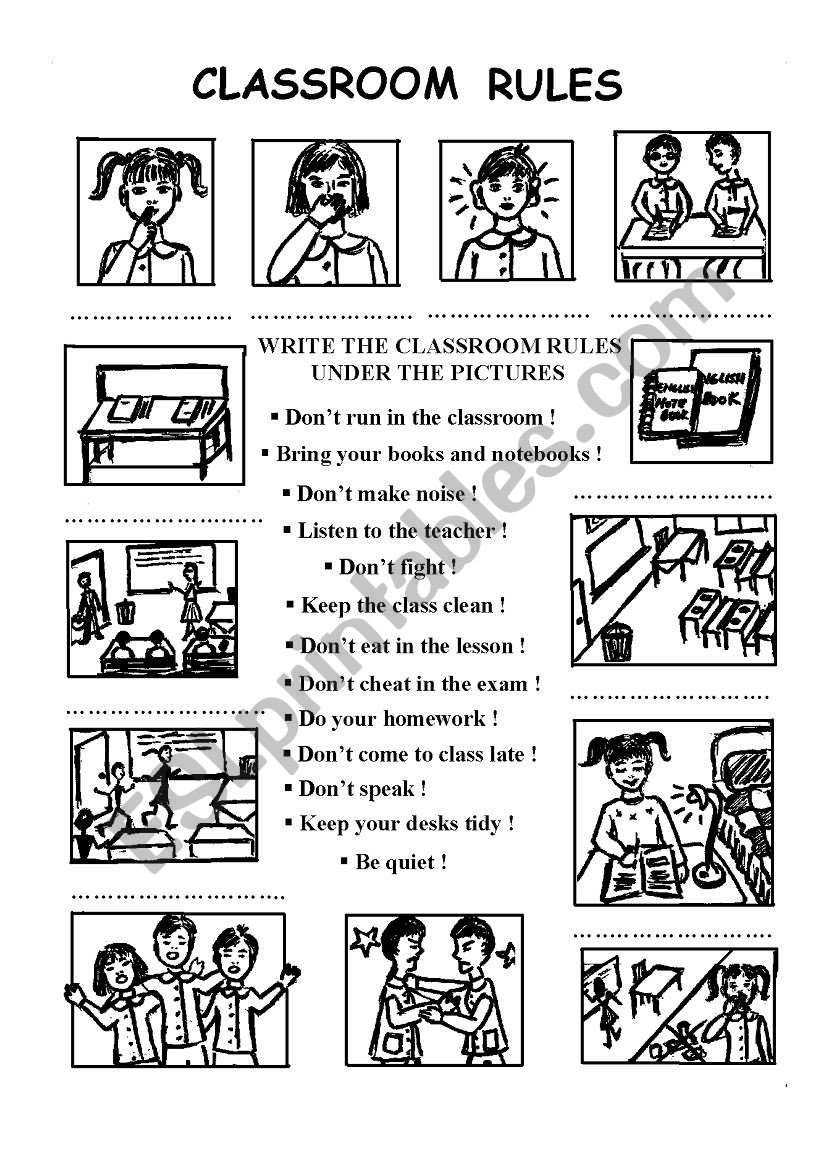 Classroom Rules Worksheet Classroom Rules Esl Worksheet by Chance