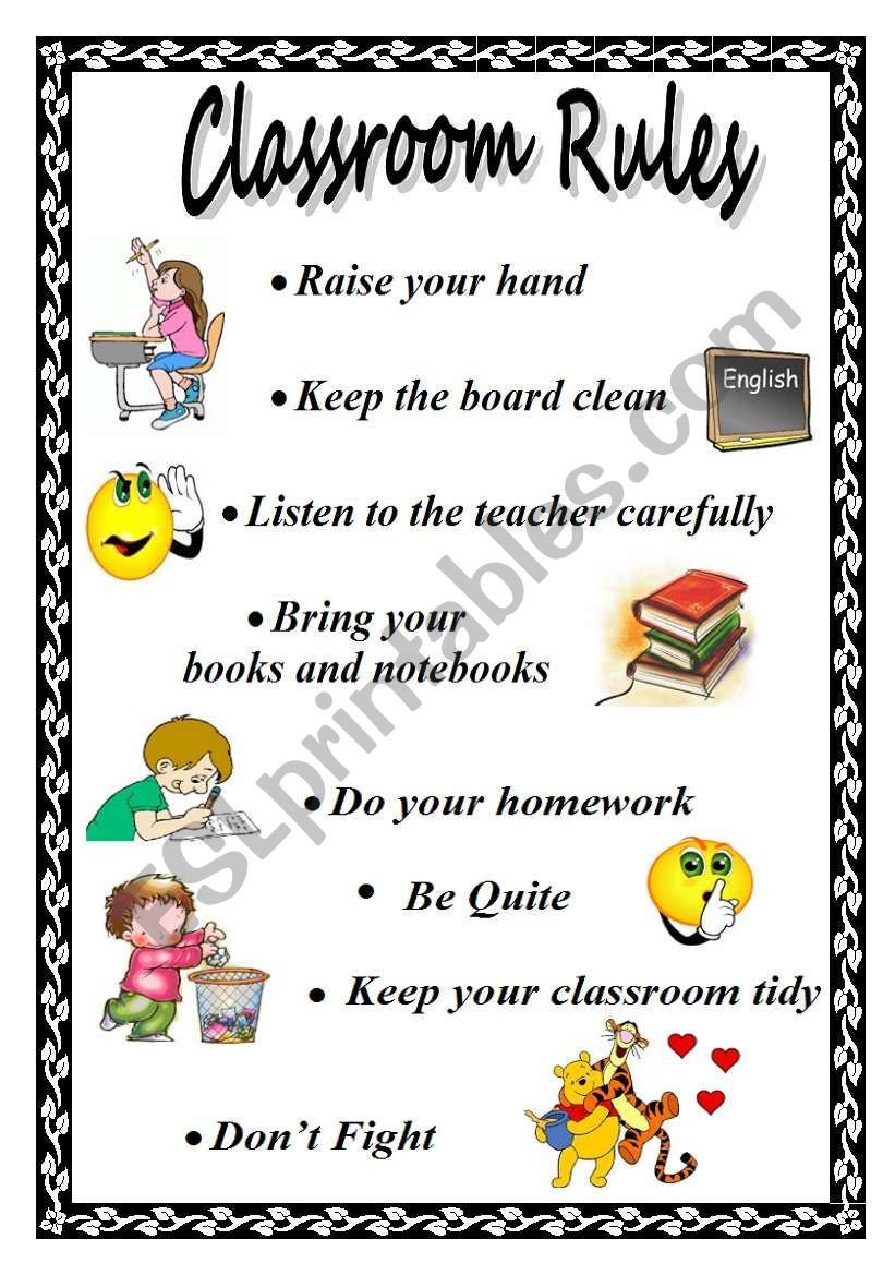 Classroom Rules Worksheet Classroom Rules Esl Worksheet by Xyz5