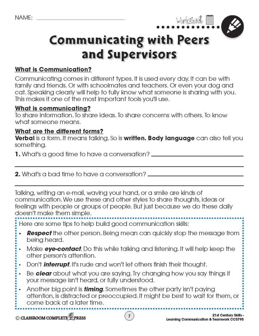 Communication Skills Worksheets for Adults Learning Munication & Teamwork Building Munication