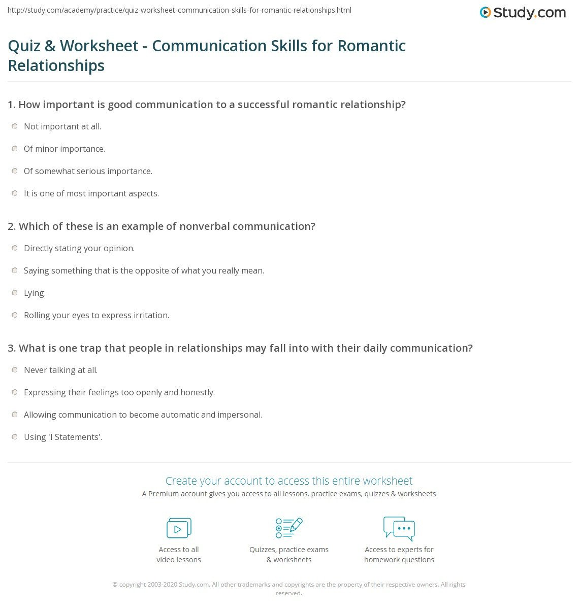 Communication Skills Worksheets for Adults Quiz & Worksheet Munication Skills for Romantic