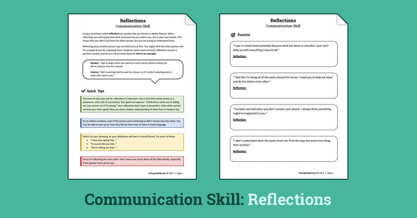 Communication Skills Worksheets for Adults Reflections Munication Skill Worksheet