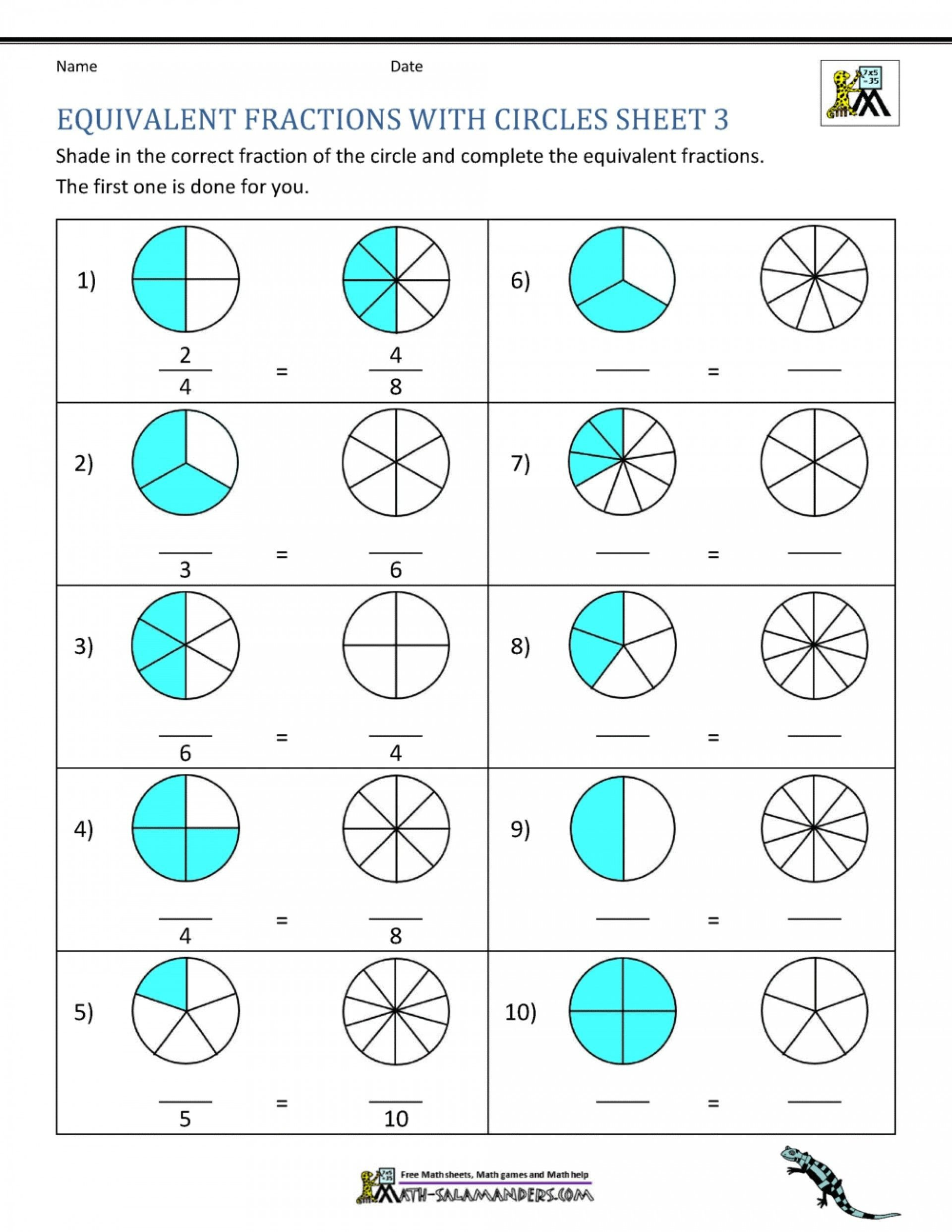 Comparing Fractions Third Grade Worksheet 4 Free Math Worksheets Third Grade 3 Fractions and Decimals