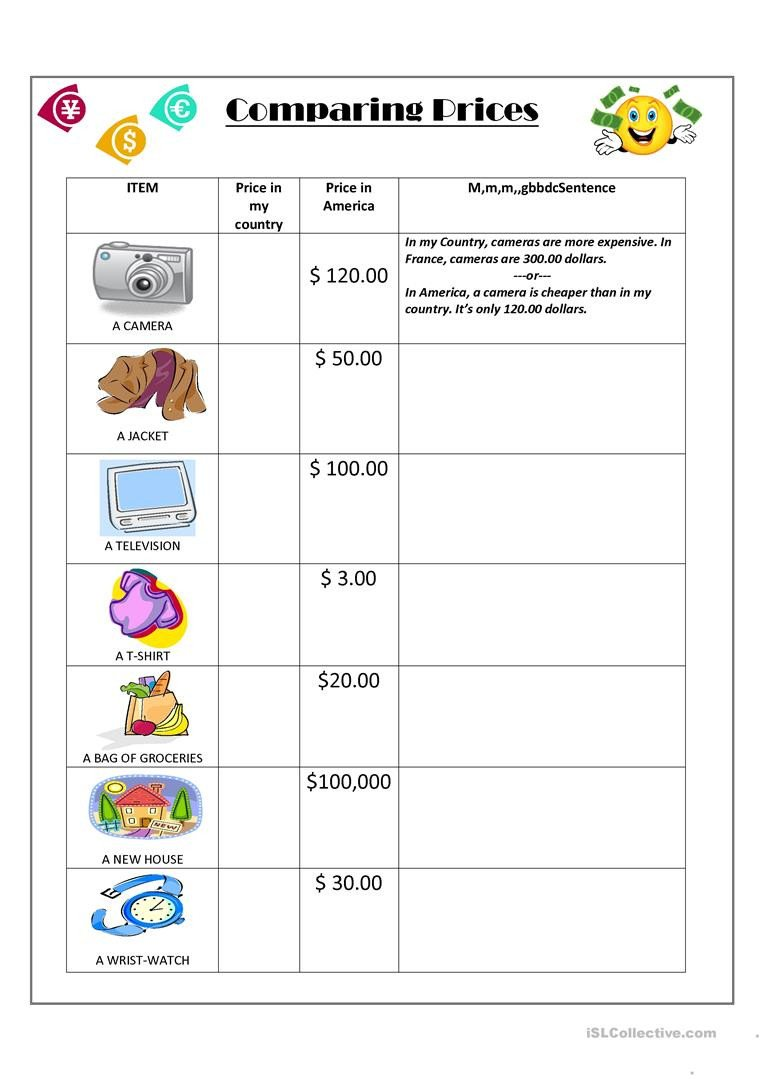 Comparison Shopping Worksheets for Students English Esl Price Worksheets Most Ed 42 Results