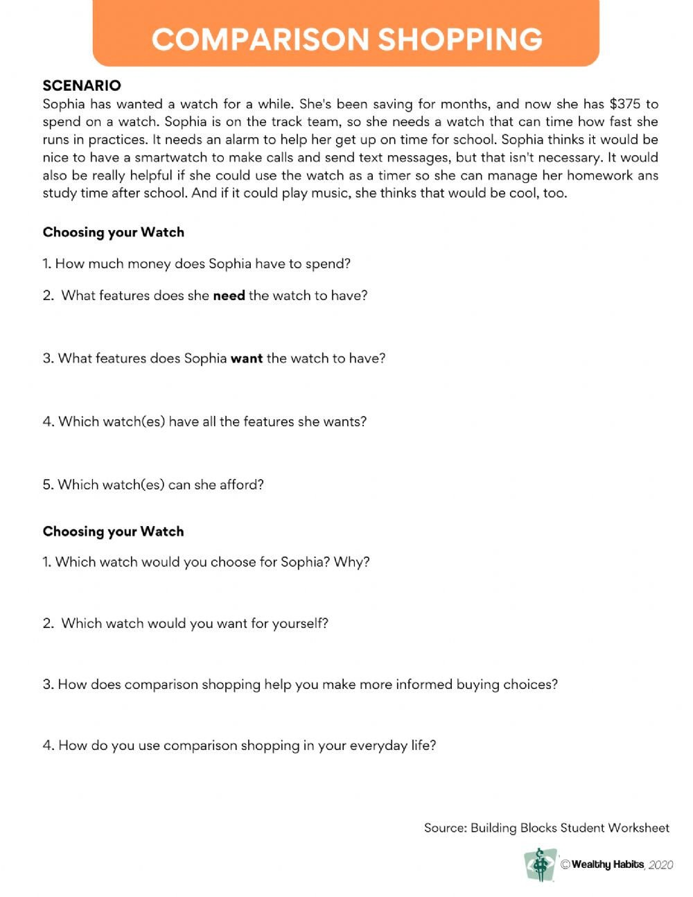 Comparison Shopping Worksheets for Students Wealthy Habits Parison Shopping Interactive Worksheet