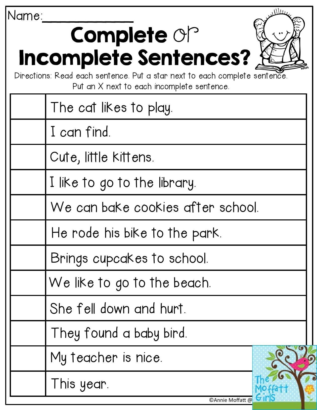 Complete Sentences Worksheet 1st Grade Plete or In Plete Sentences Read Each Sentence and