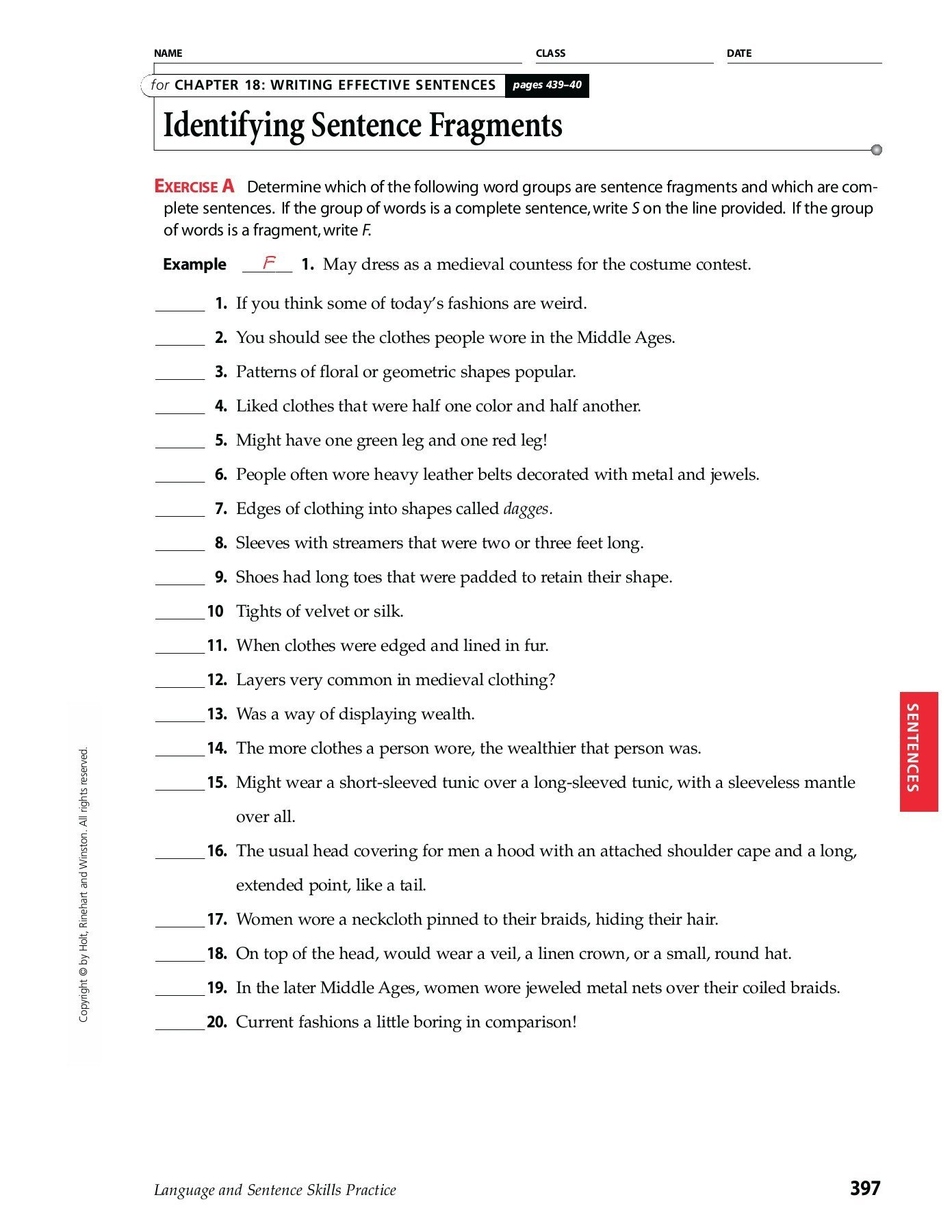 Complete Sentences Worksheet 4th Grade Chapter 18 Writing Effective Sentences Identifying
